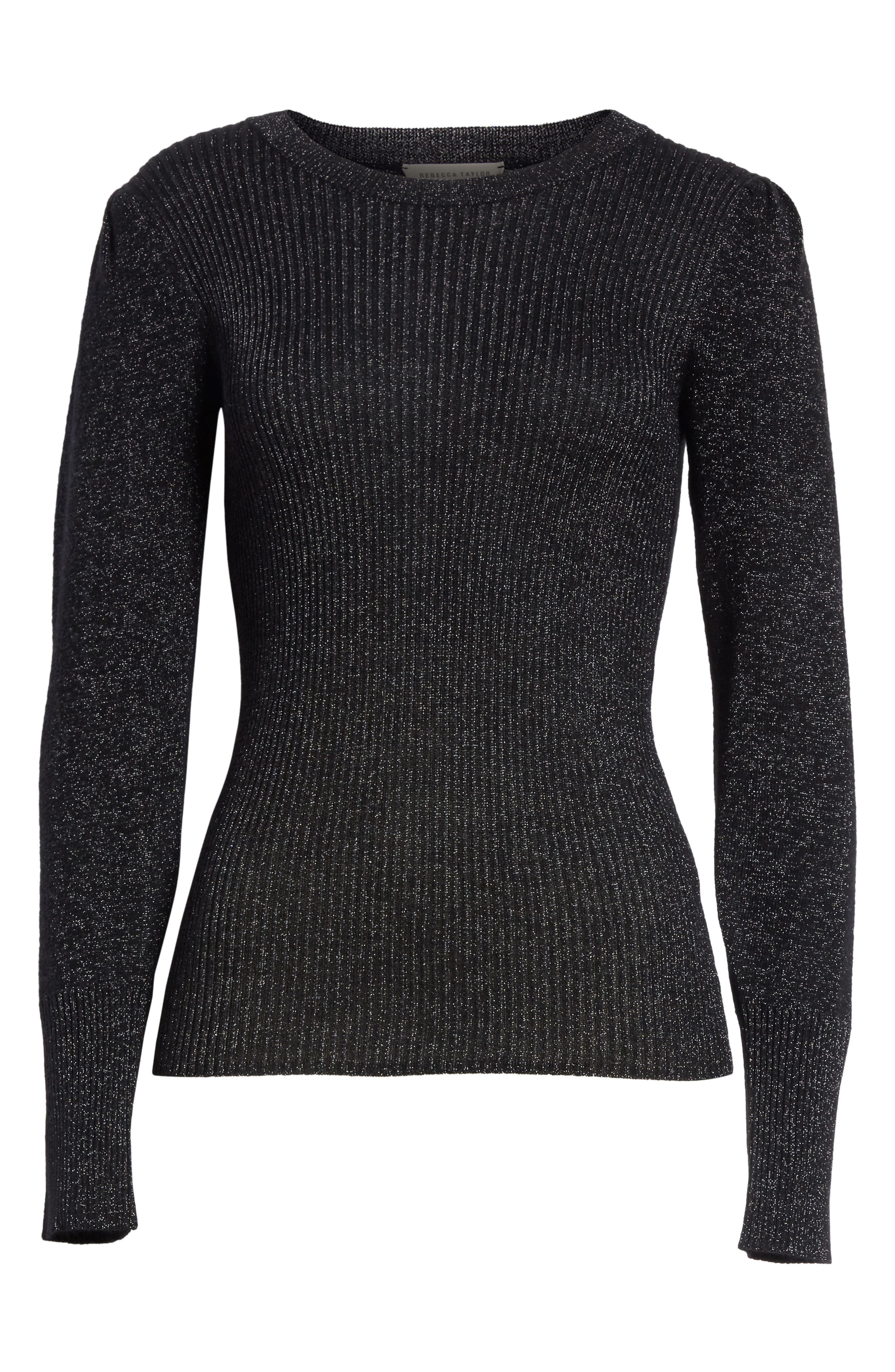 Metallic Ribbed Pullover,                             Alternate thumbnail 6, color,                             Black Combo