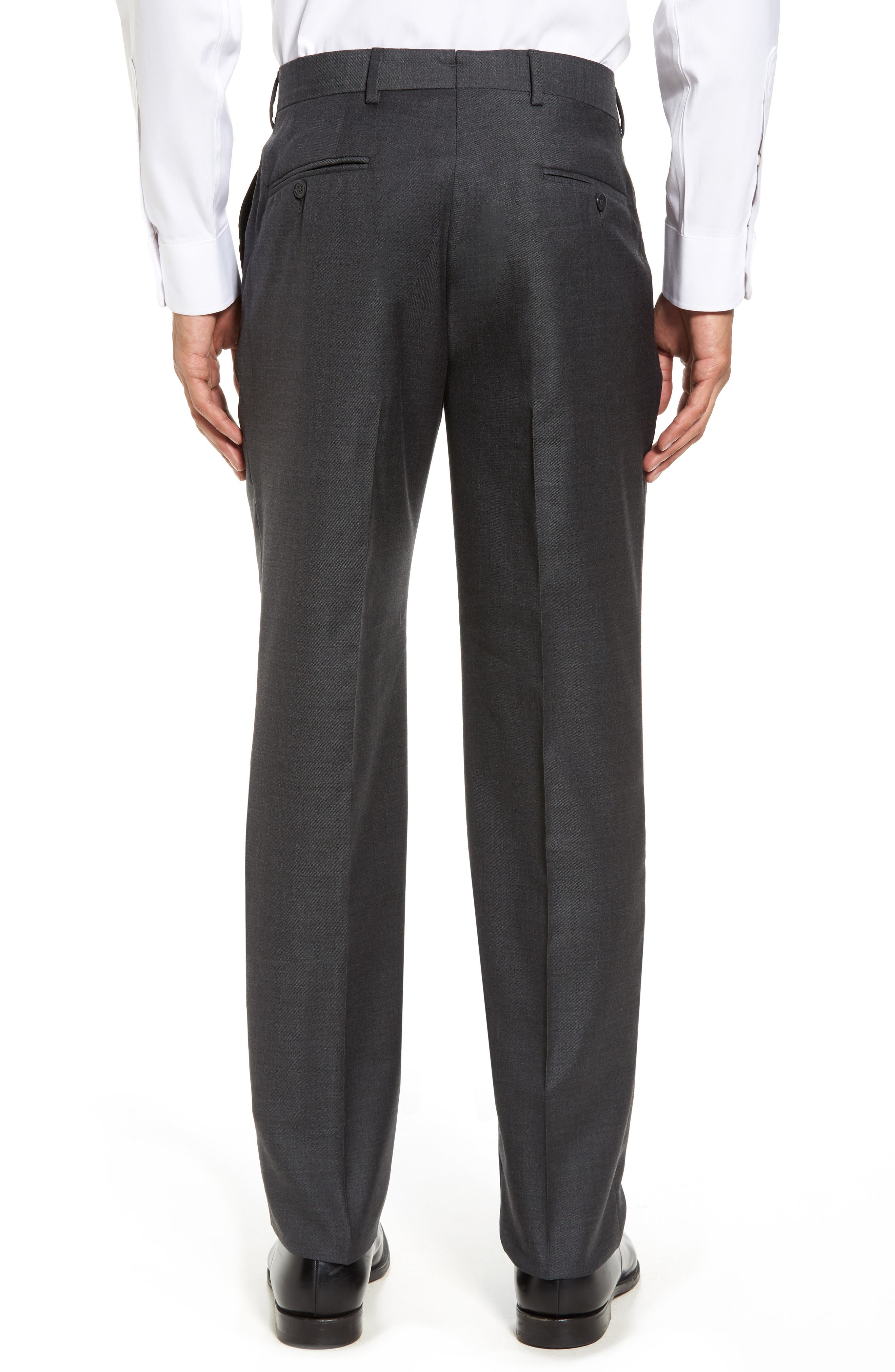Flat Front Sharkskin Wool Trousers,                             Alternate thumbnail 2, color,                             Charcoal