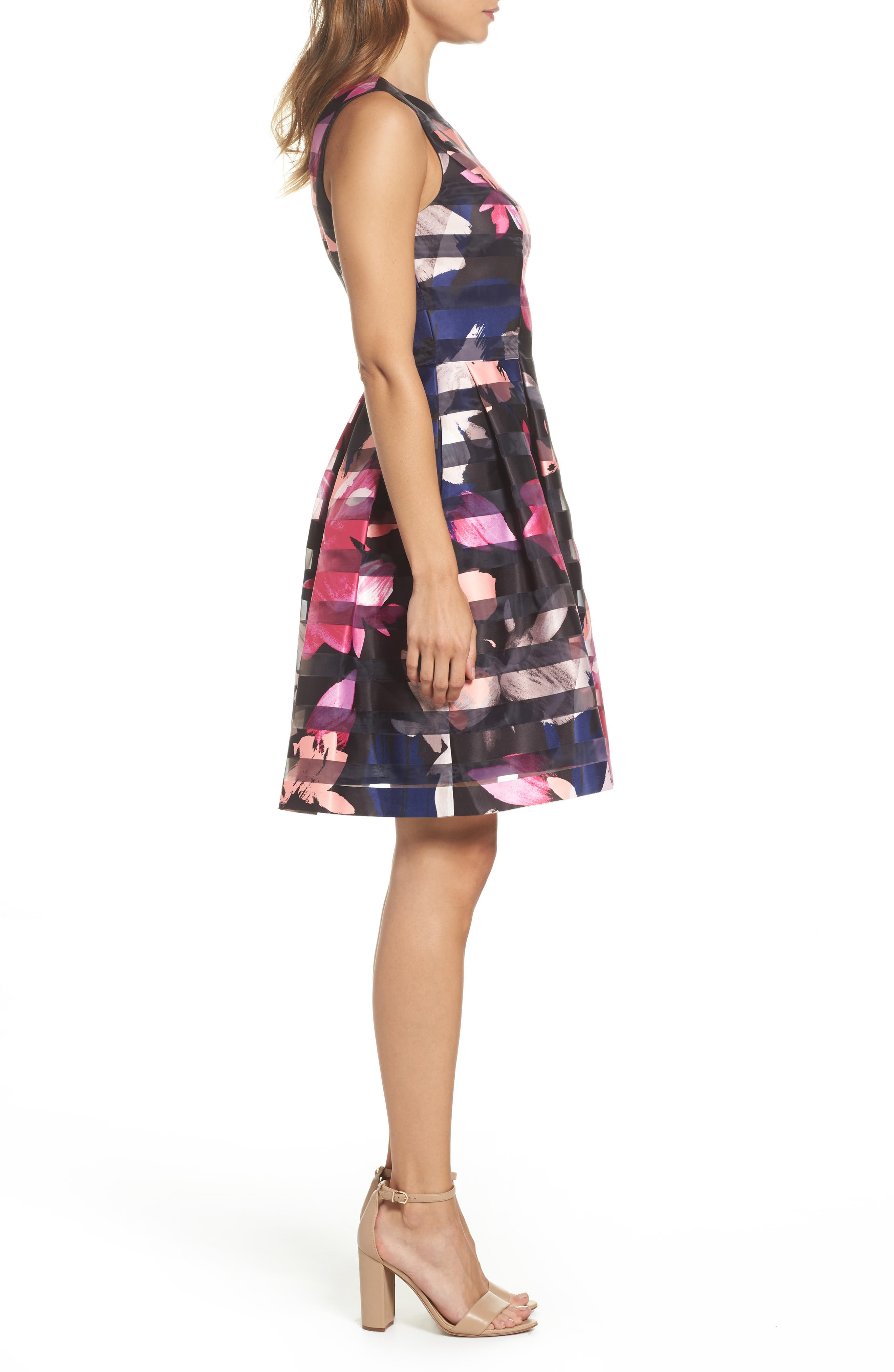 Alternate Image 3  - Vince Camuto Shadow Stripe Fit & Flare Dress