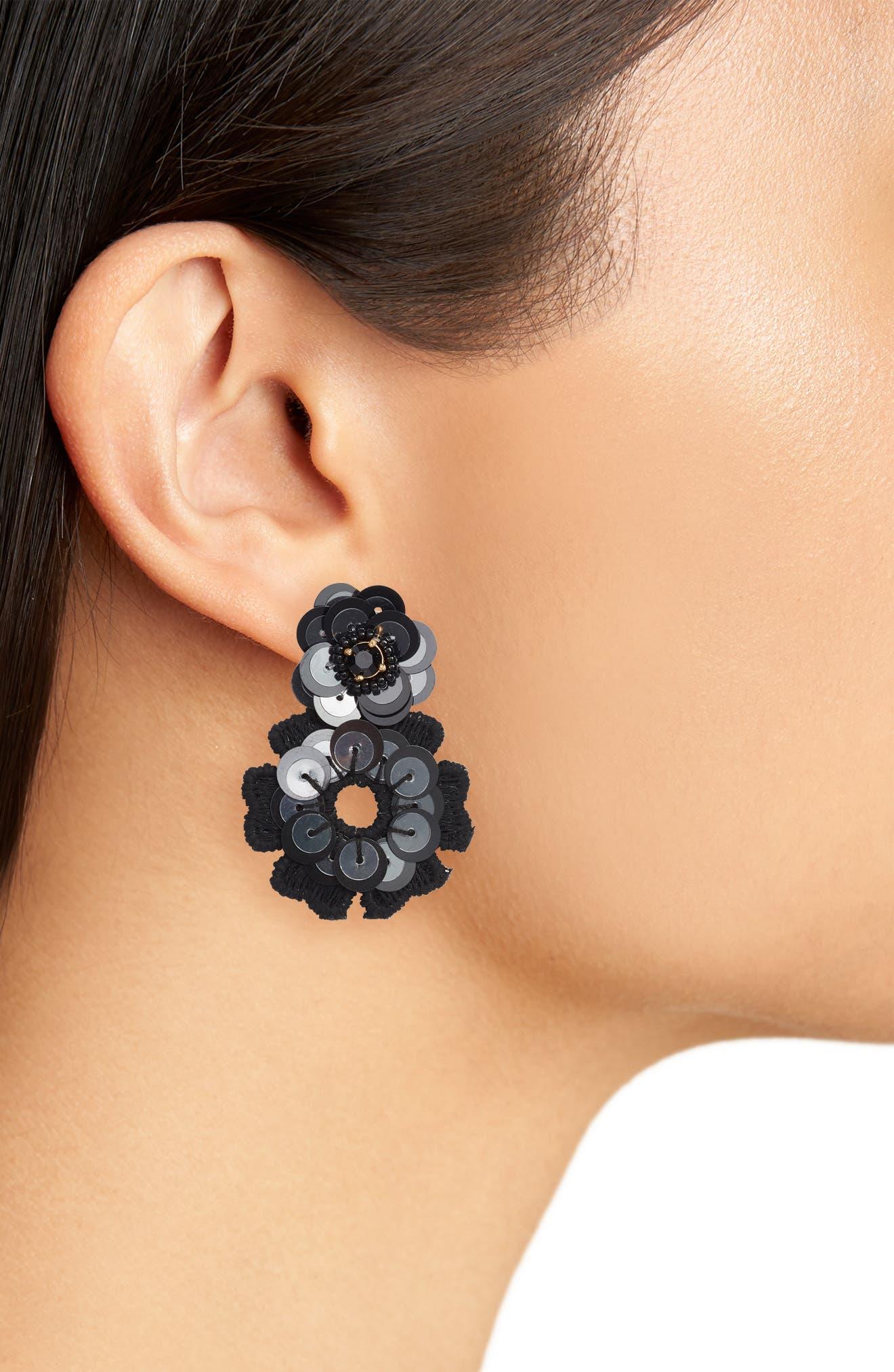 posy grove sequin drop earrings,                             Alternate thumbnail 2, color,                             Black Multi