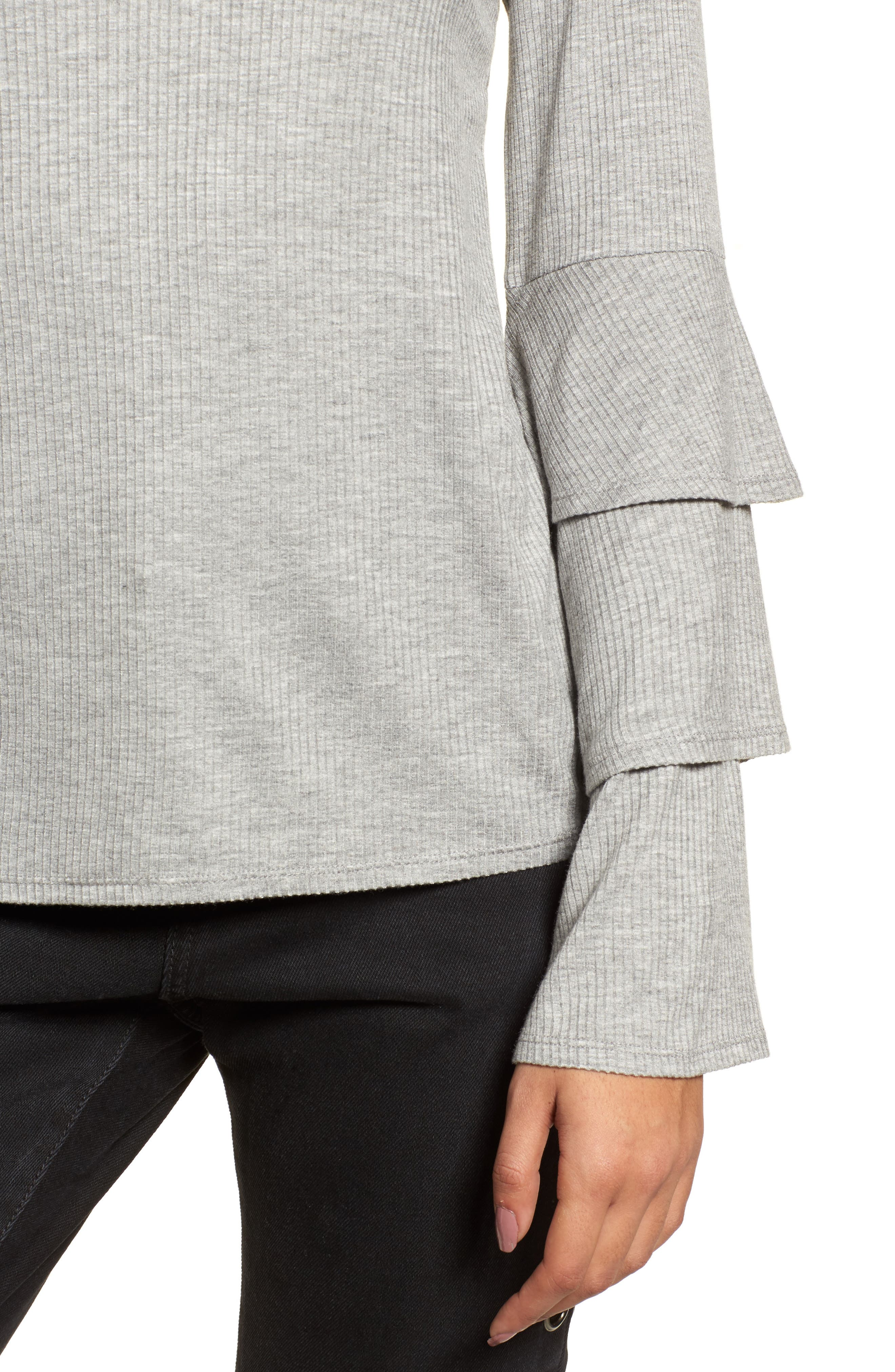 Ruffle Sleeve Ribbed Sweater,                             Alternate thumbnail 4, color,                             Grey Medium Heather