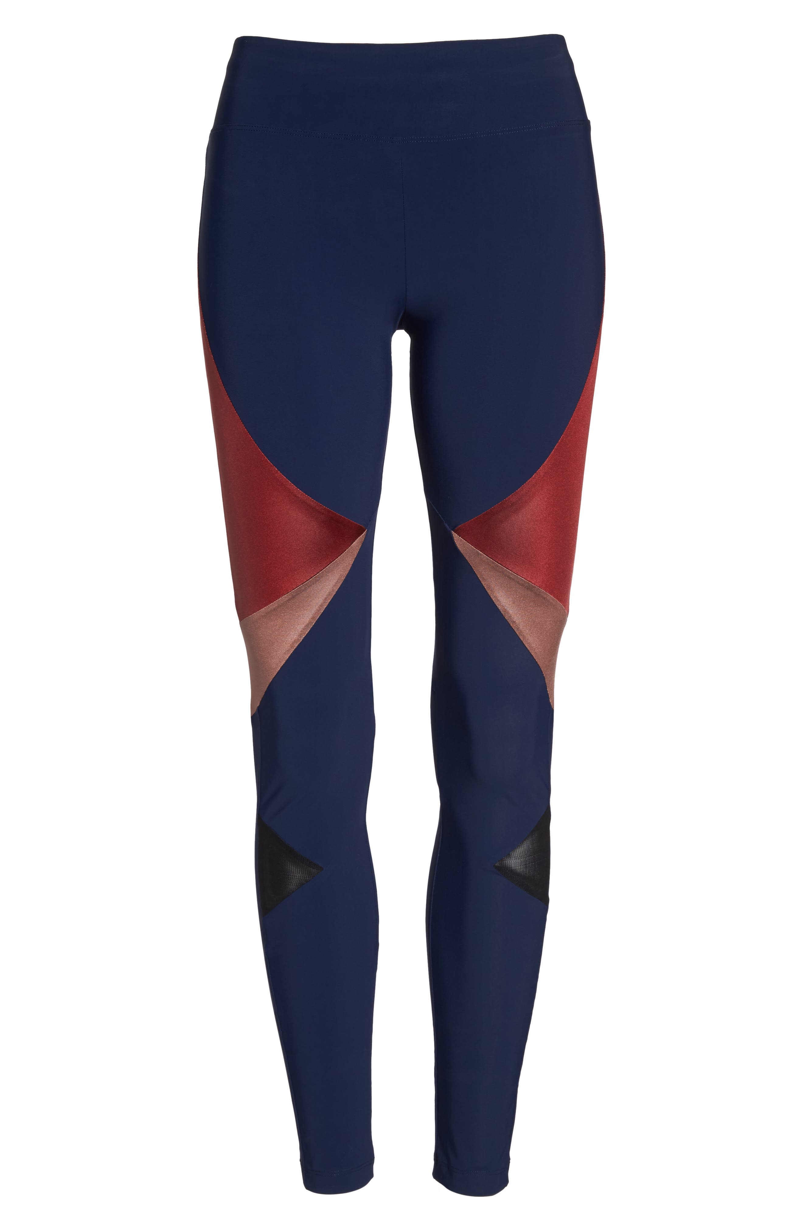 BoomBoom Athletica Compression Leggings,                             Alternate thumbnail 7, color,                             Navy/Oxblood/Rose Gold