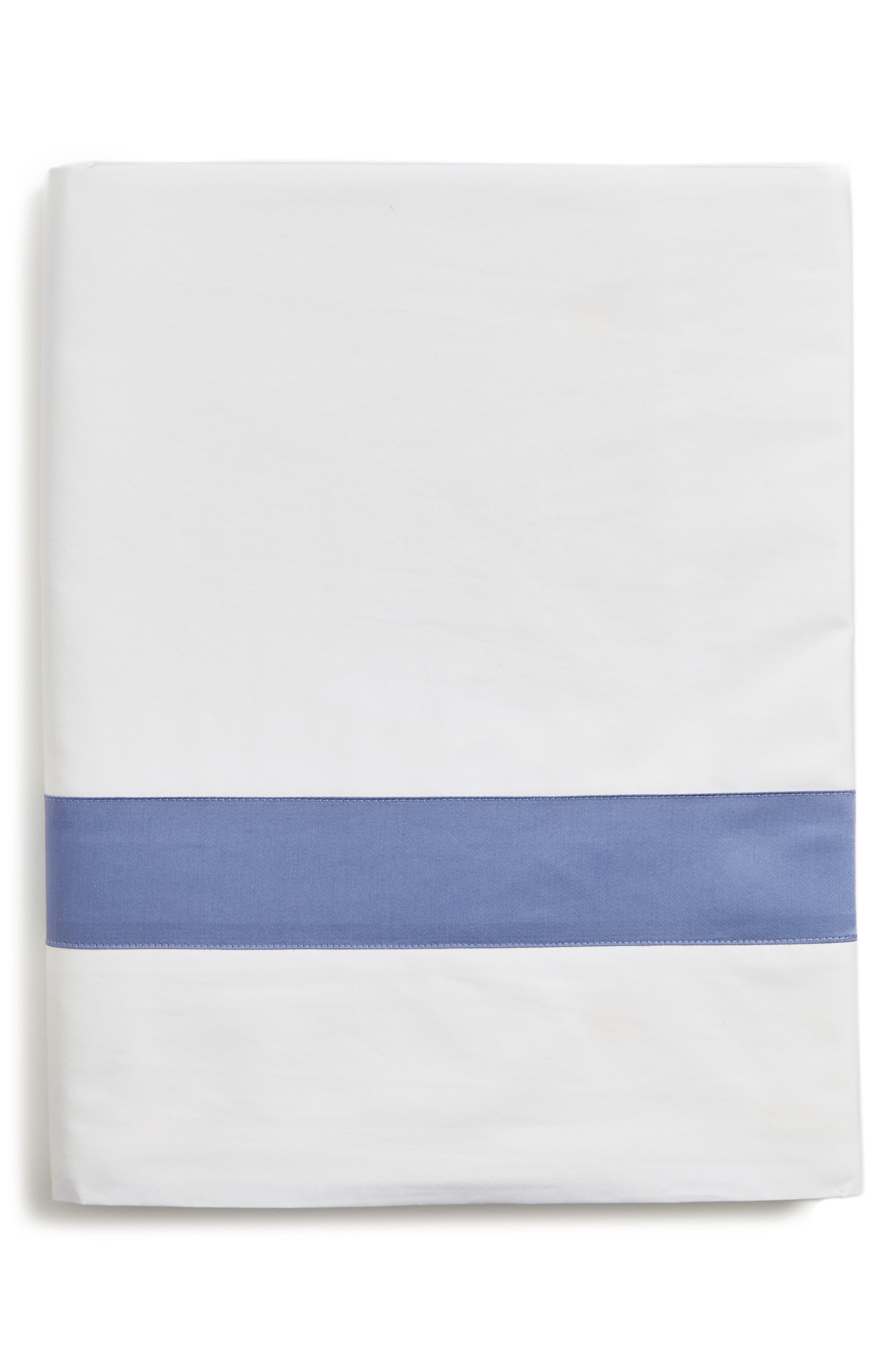 Orlo Flat Sheet,                             Main thumbnail 1, color,                             White/ Cornflower