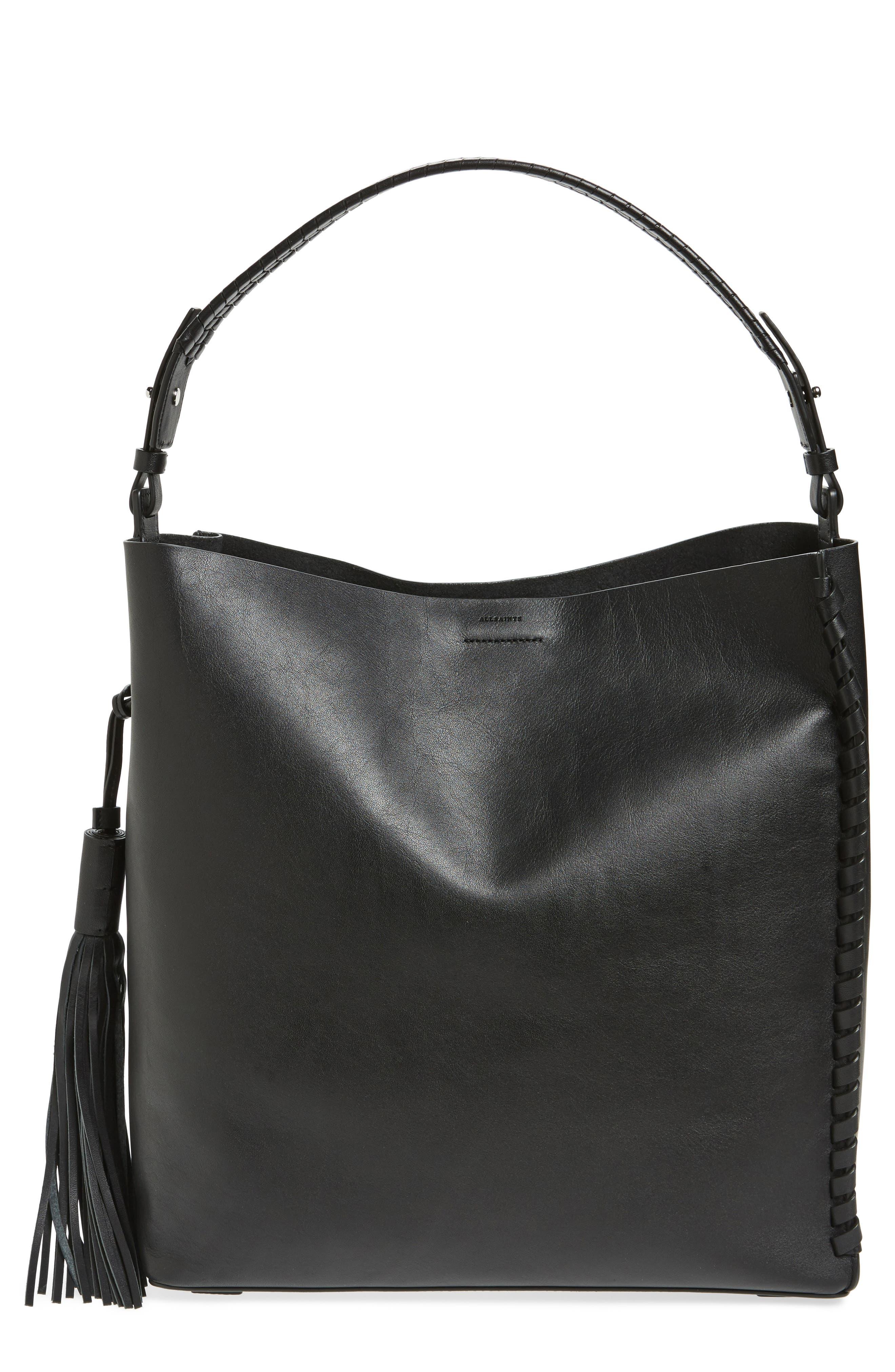 Kepi North/South Leather Tote,                         Main,                         color, Black