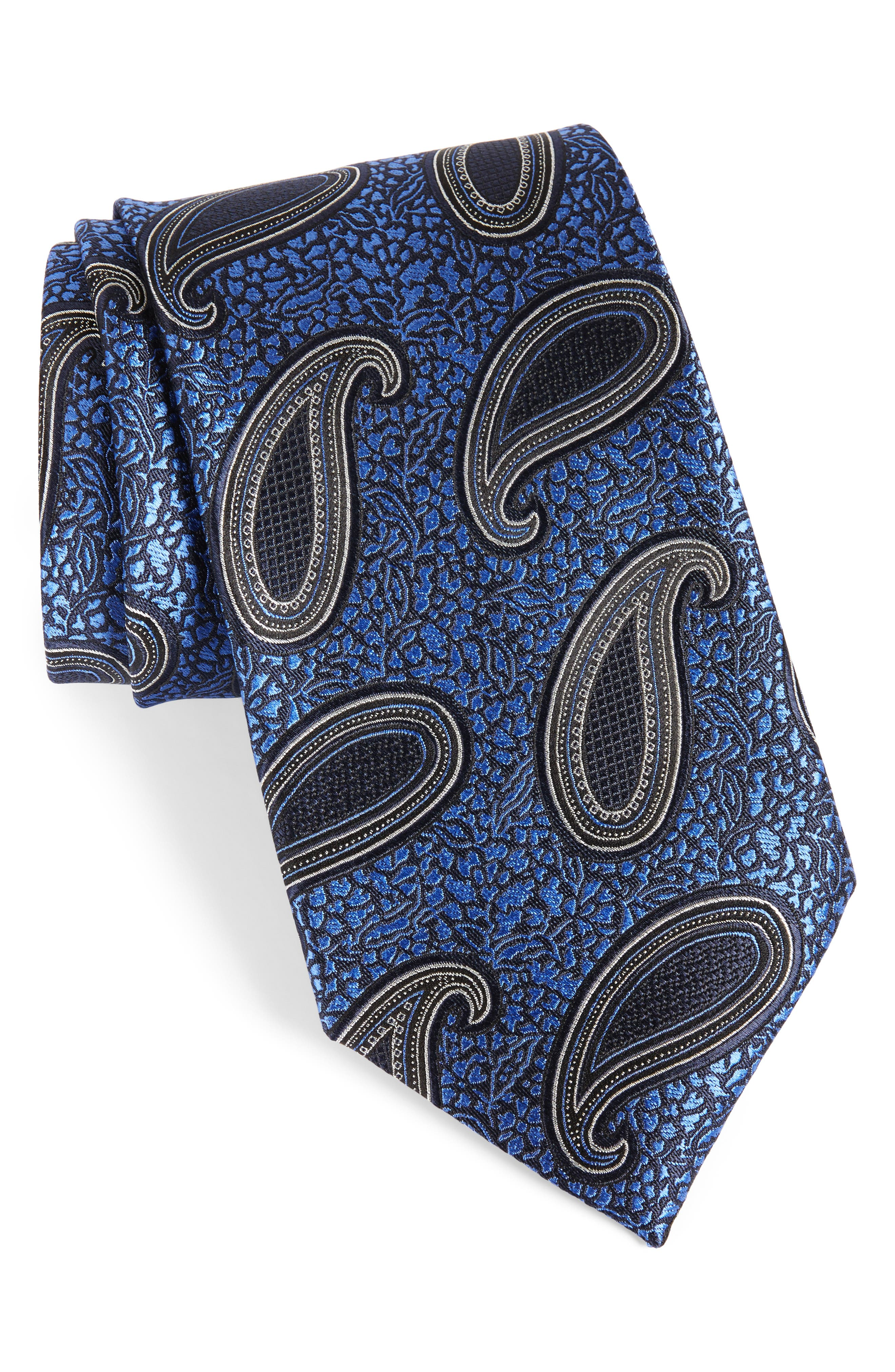 Paisley Silk Tie,                             Main thumbnail 1, color,                             Navy