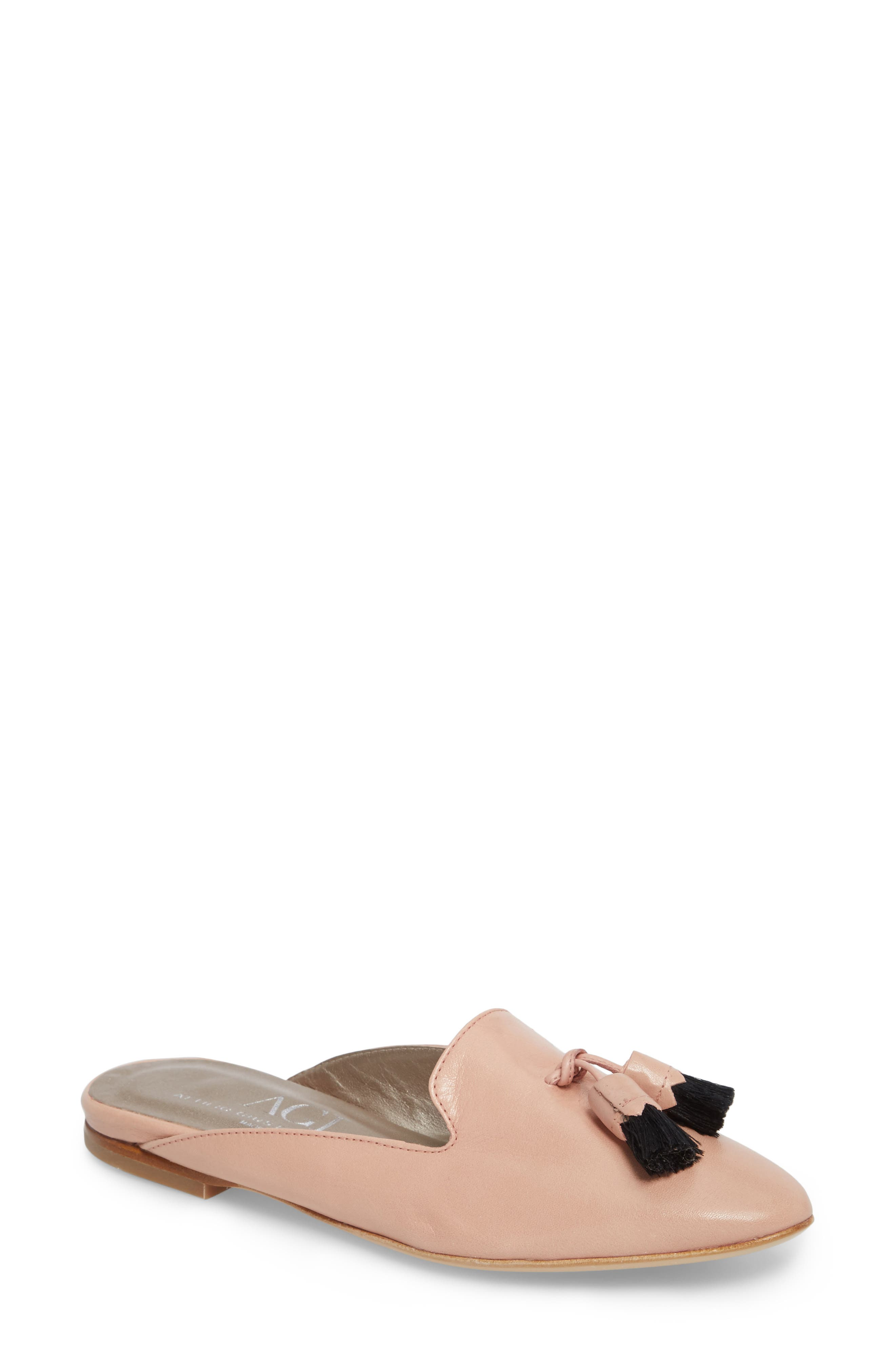 Tassel Loafer Mule,                             Main thumbnail 1, color,                             Nude Pink Leather