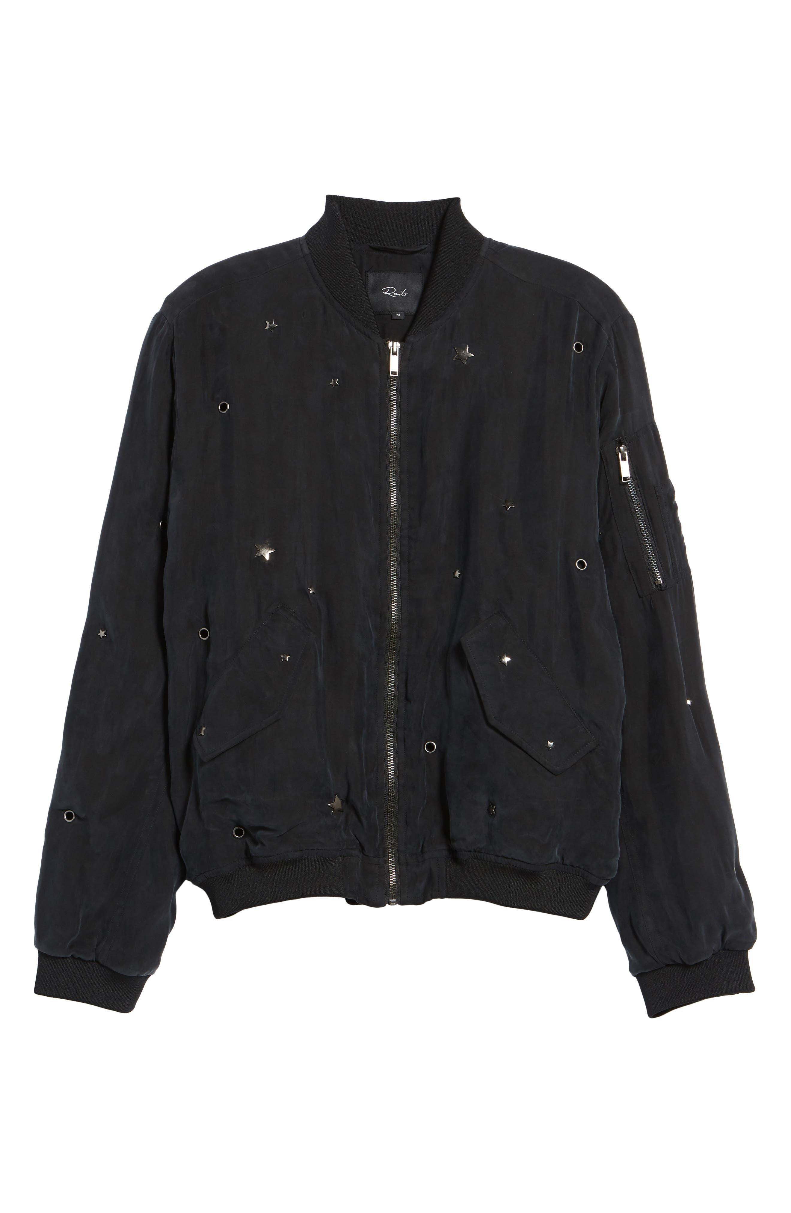 Ace Embellished Bomber Jacket,                             Alternate thumbnail 6, color,                             Black-Studded