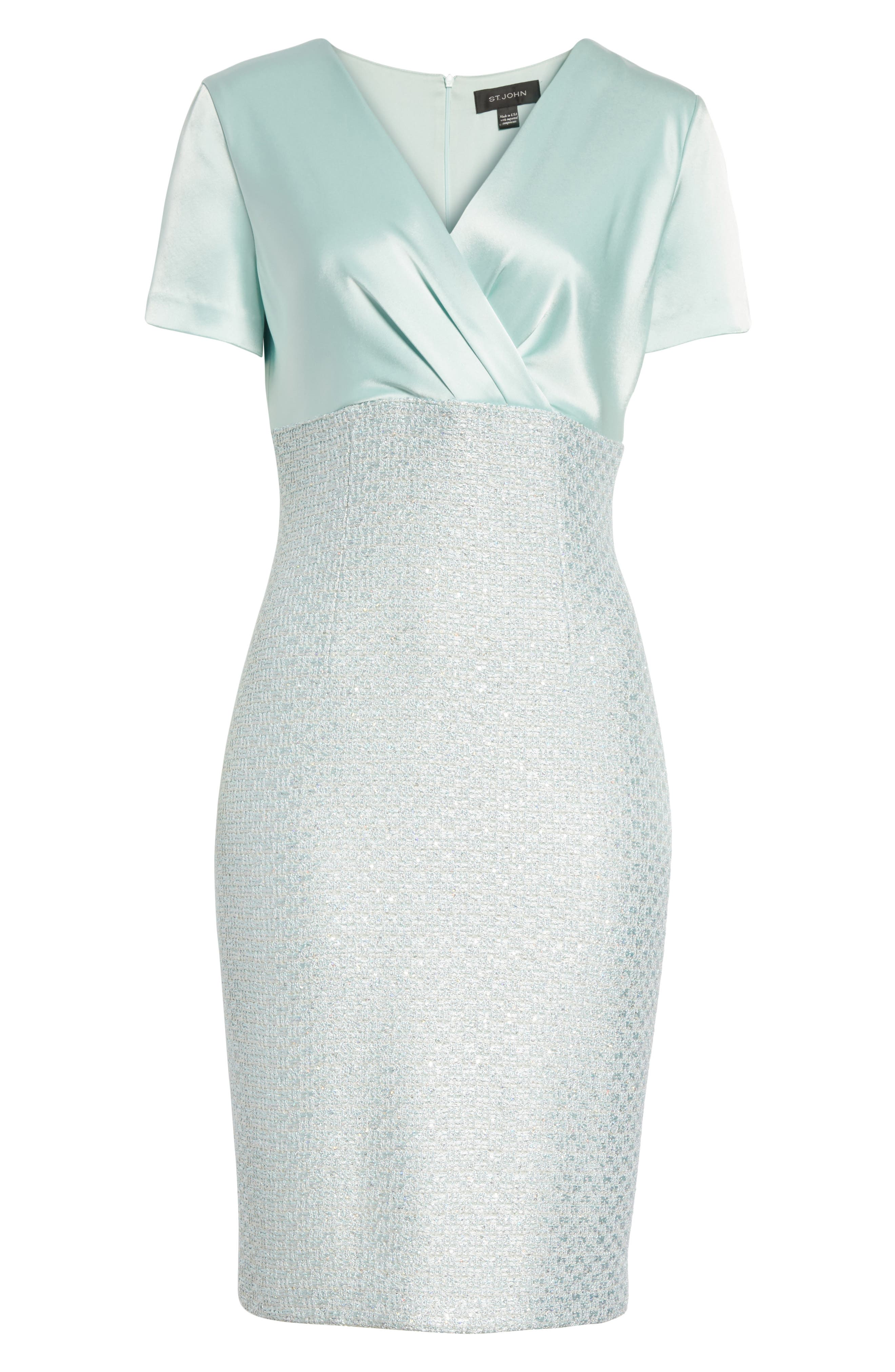 Hansh Satin & Knit Sheath Dress,                             Alternate thumbnail 7, color,                             Mint