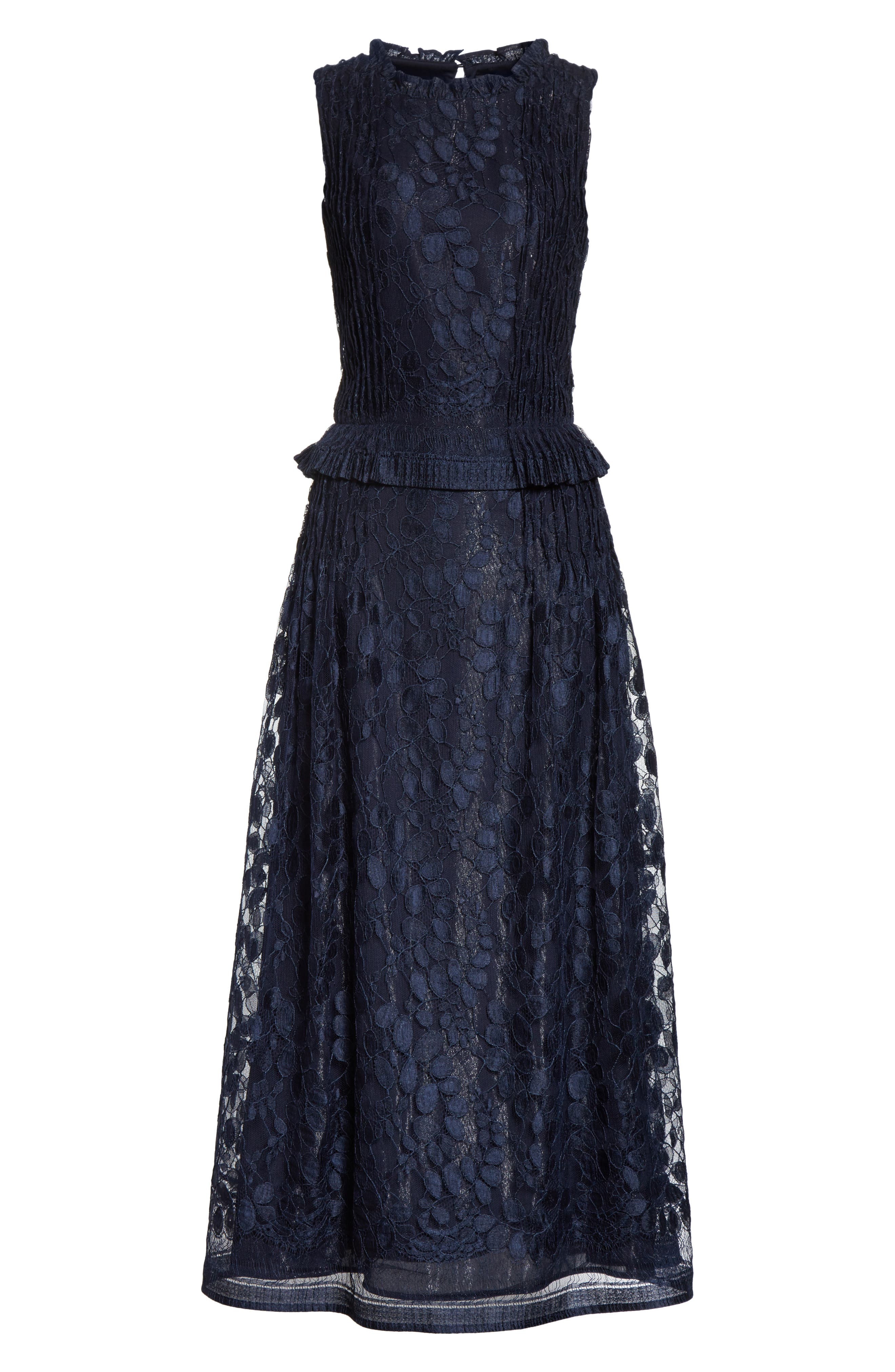 Abstract Leaf Lace midi Dress,                             Alternate thumbnail 7, color,                             Navy