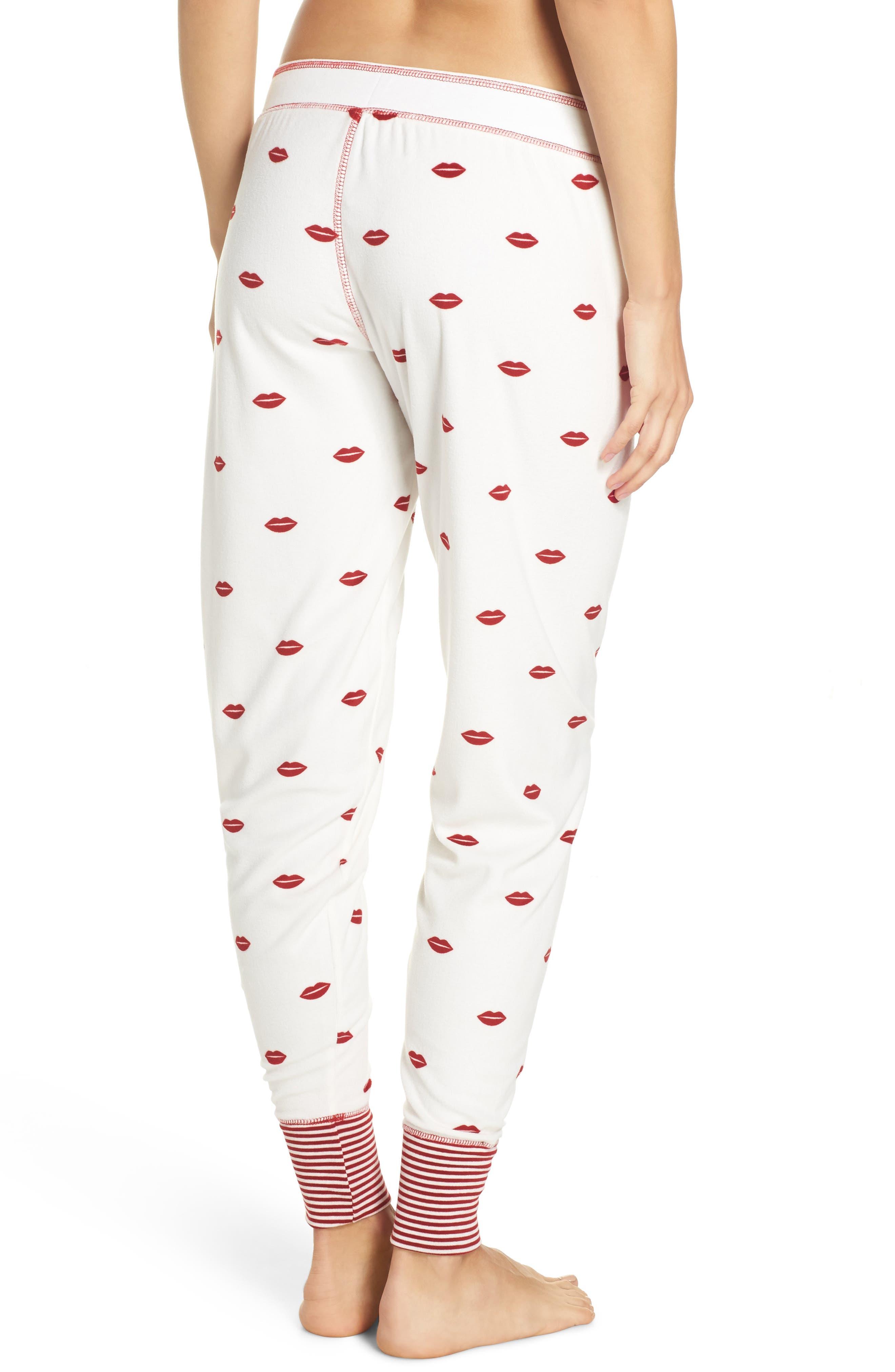 Lip Print Pajama Pants,                             Alternate thumbnail 2, color,                             Natural