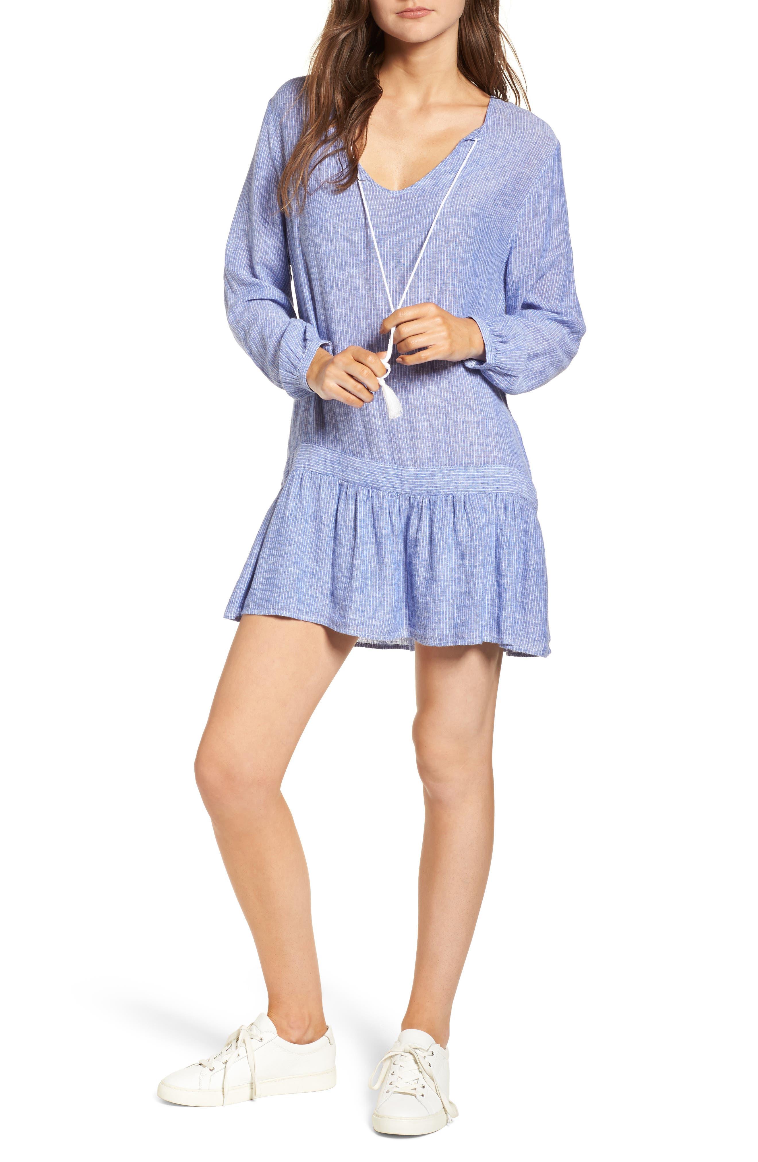 Lydia Dress,                         Main,                         color, Royal White Stripe