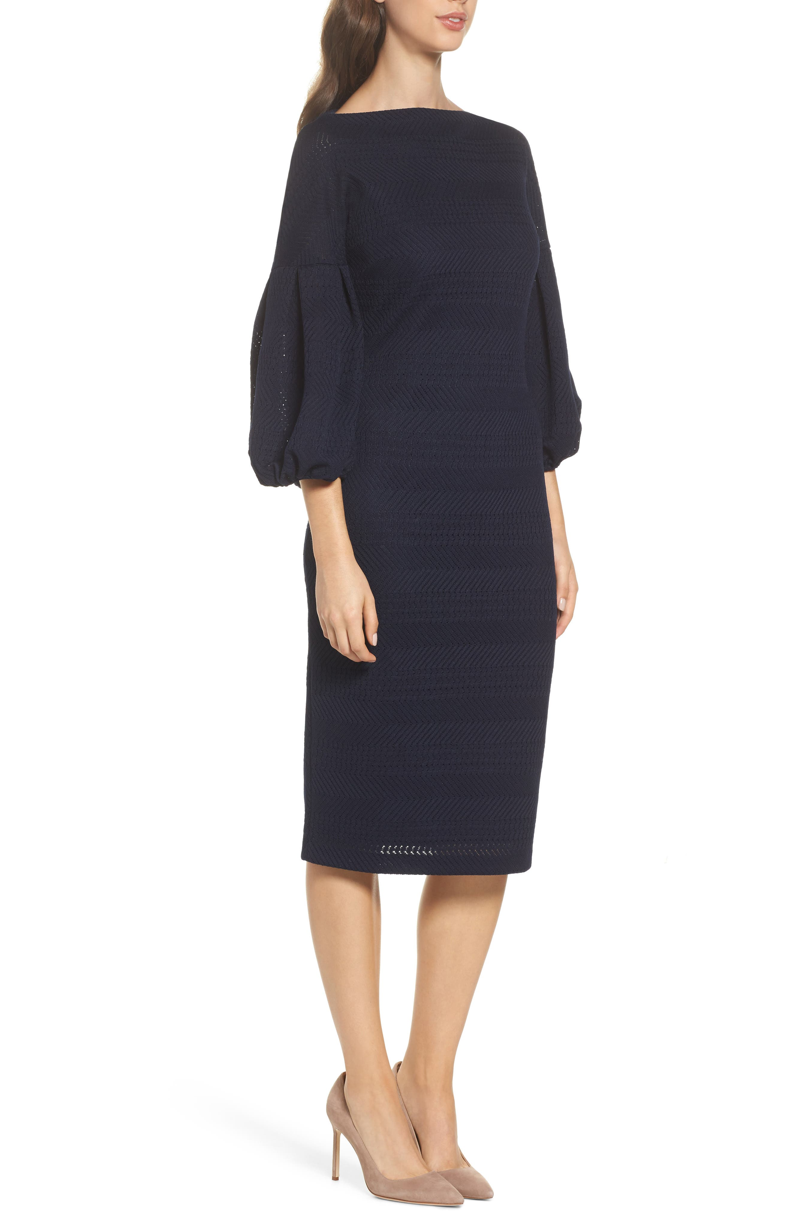 Solid Herringbone Knit Dress,                             Alternate thumbnail 3, color,                             Navy