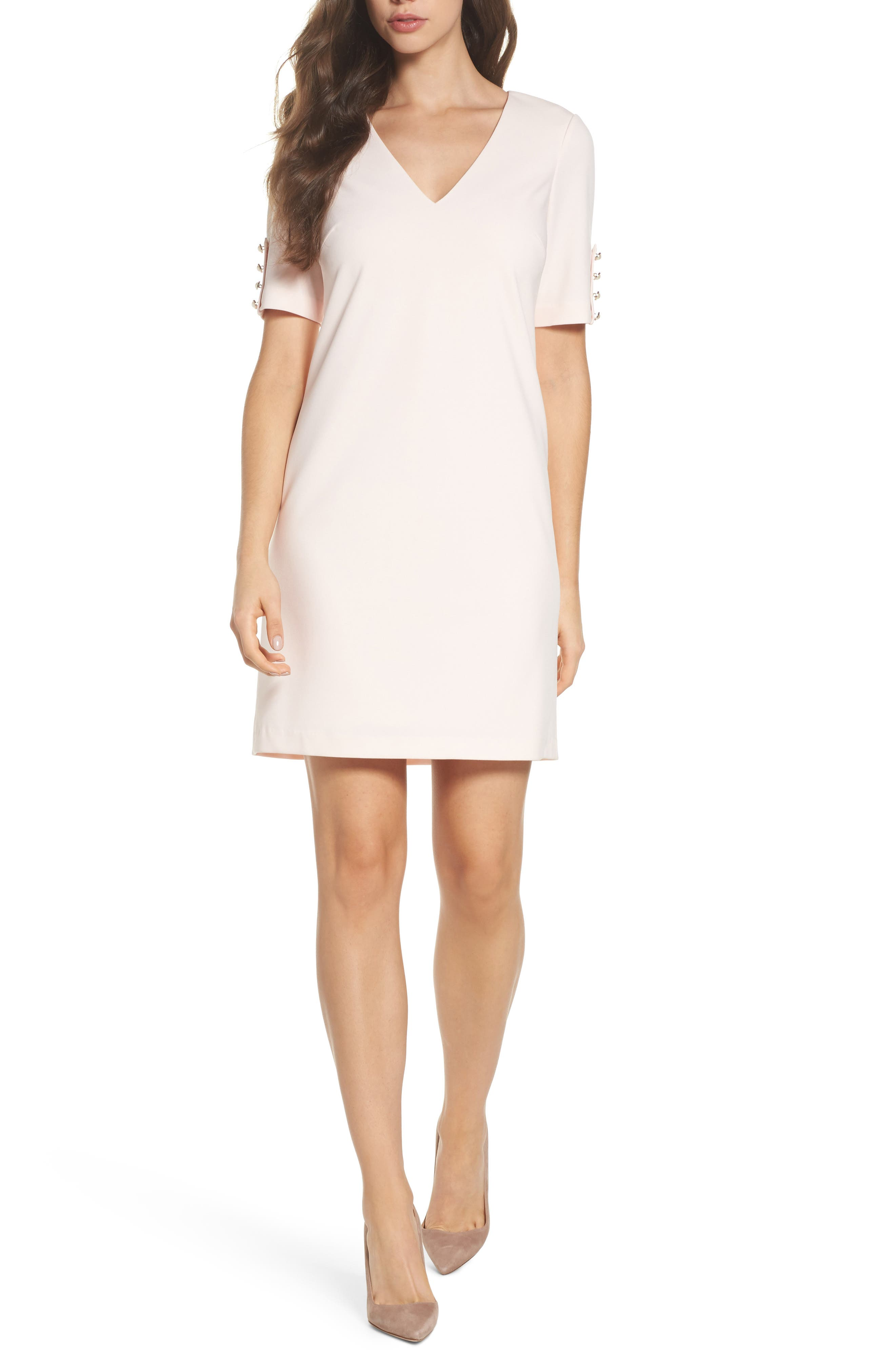 Main Image - Adrianna Papell Button Sleeve Shift Dress