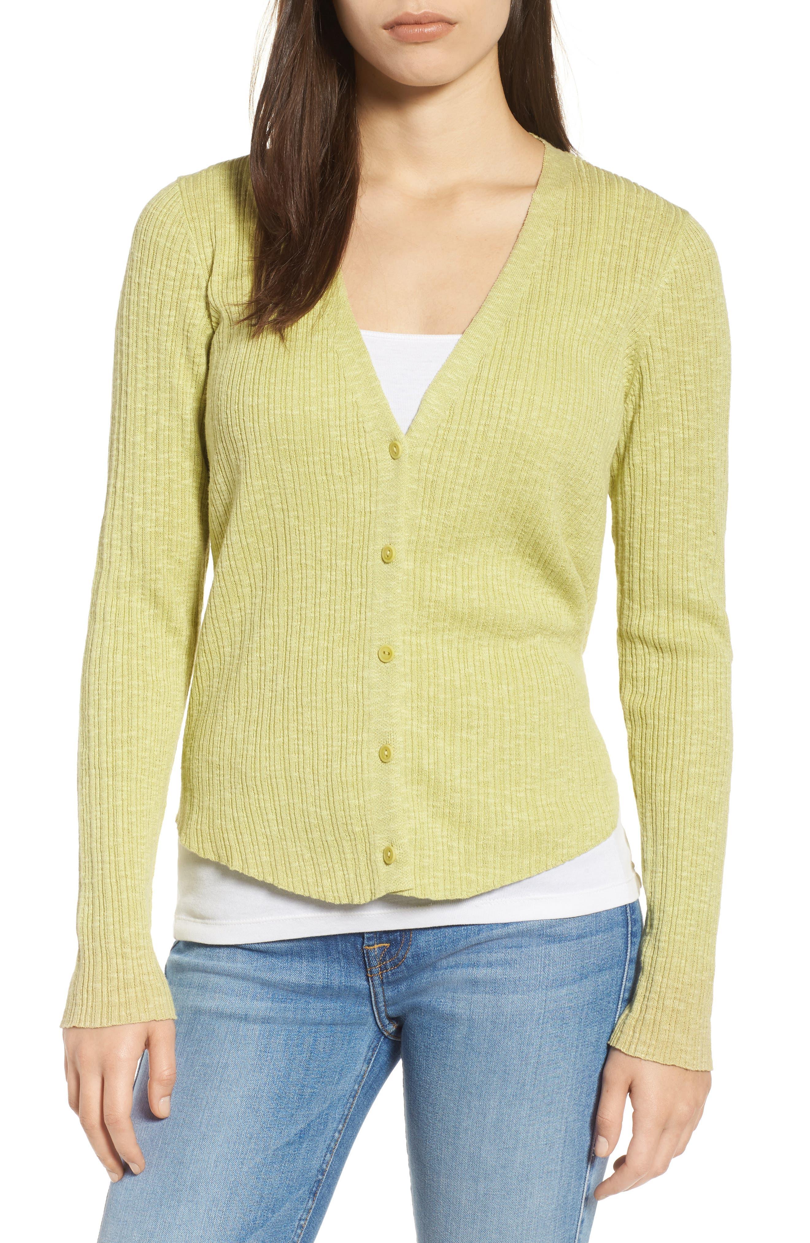 V-Neck Organic Linen & Cotton Cardigan,                         Main,                         color, Verbena