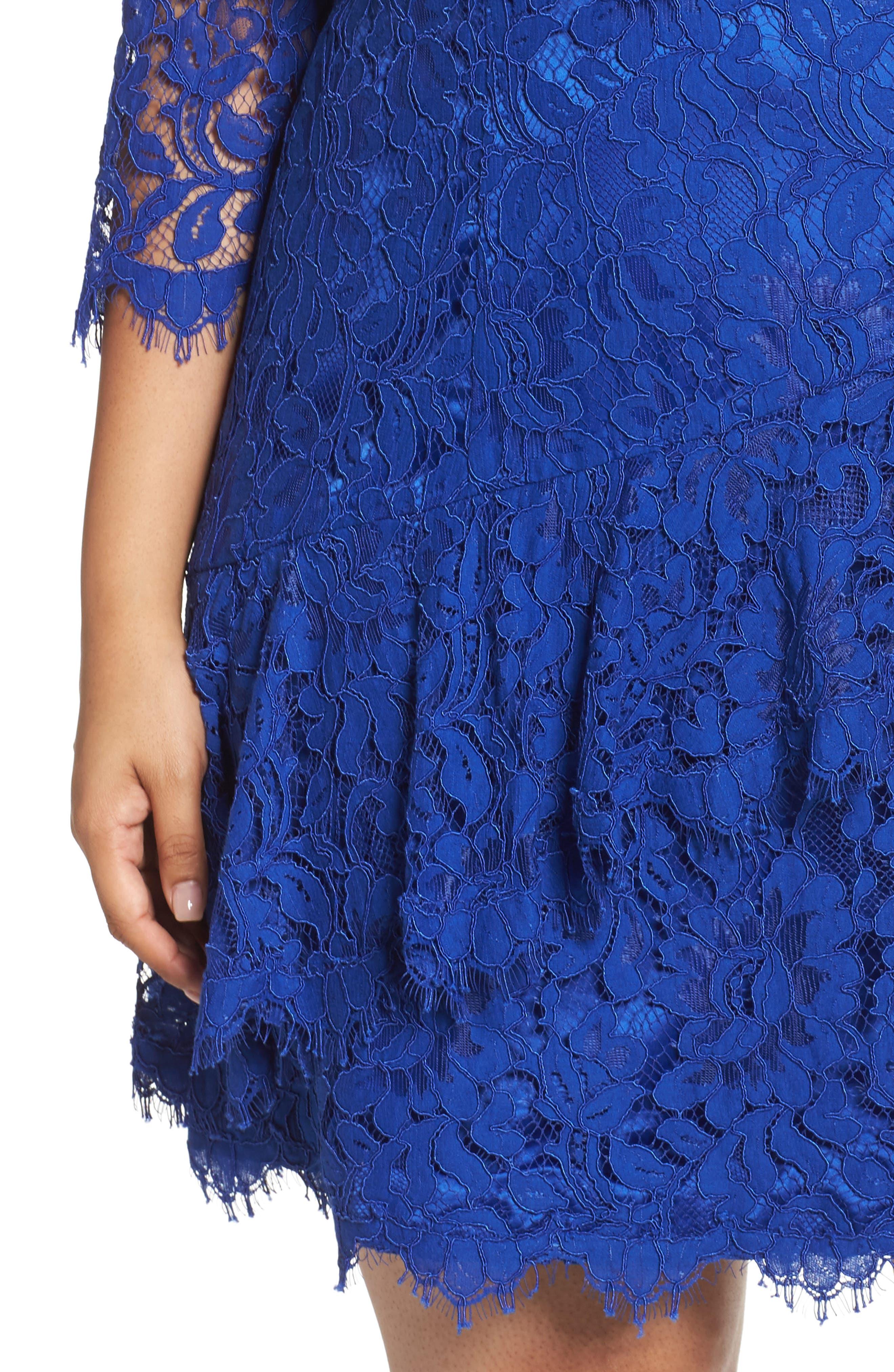 Lace Fit & Flare Dress,                             Alternate thumbnail 4, color,                             Cobalt