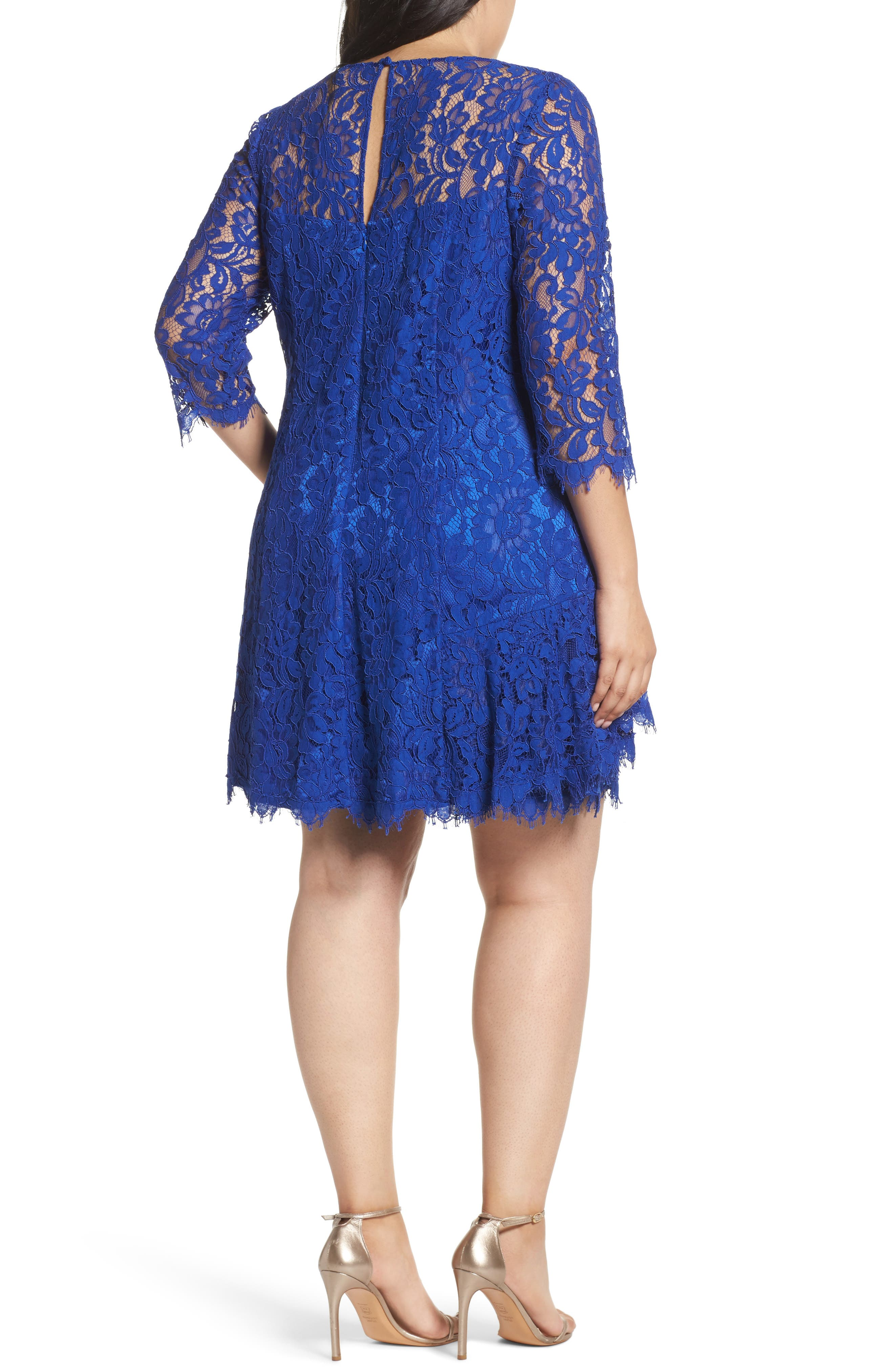 Lace Fit & Flare Dress,                             Alternate thumbnail 2, color,                             Cobalt