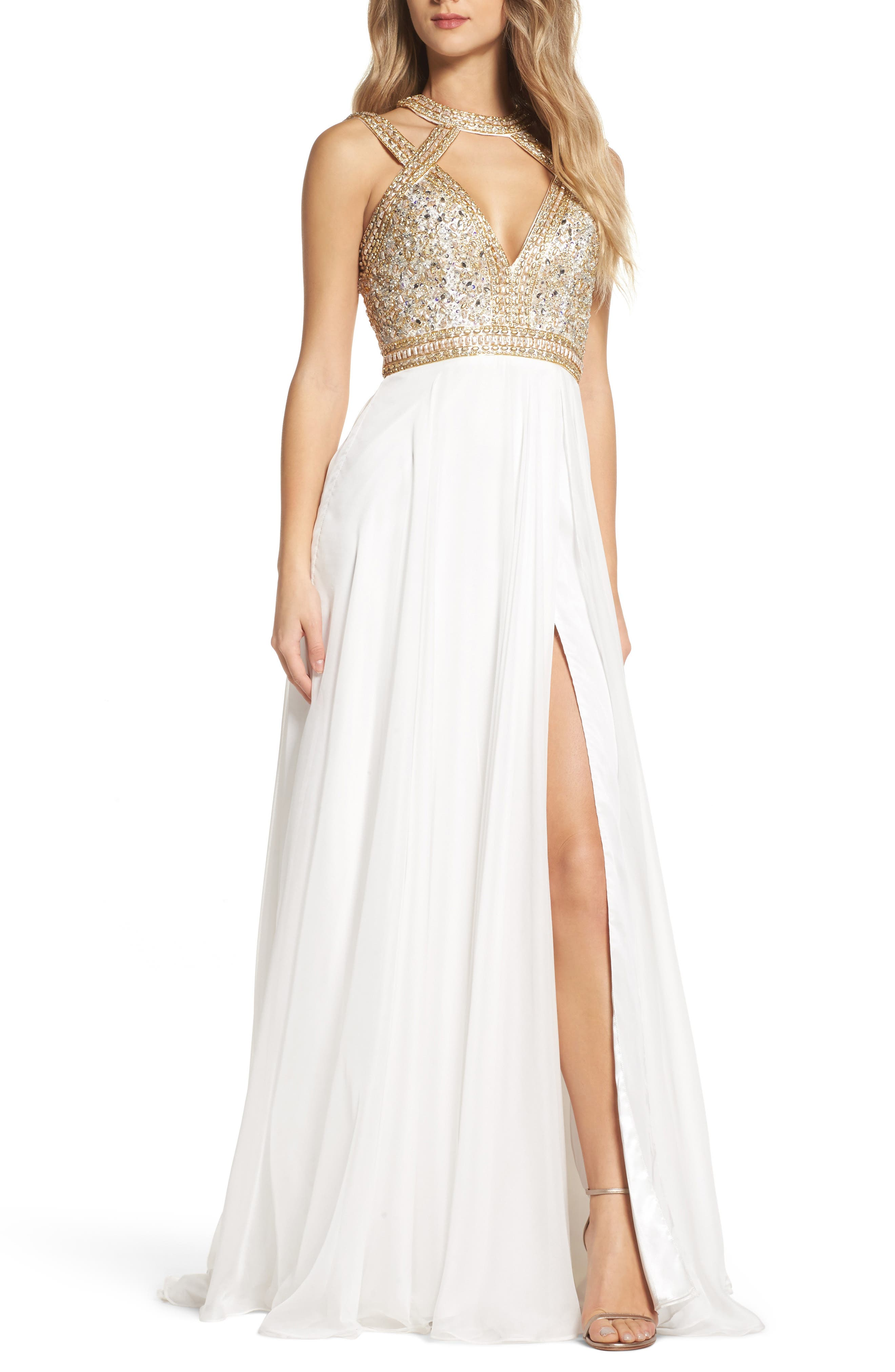 Mac Duggal Beaded Cutout Bodice Gown