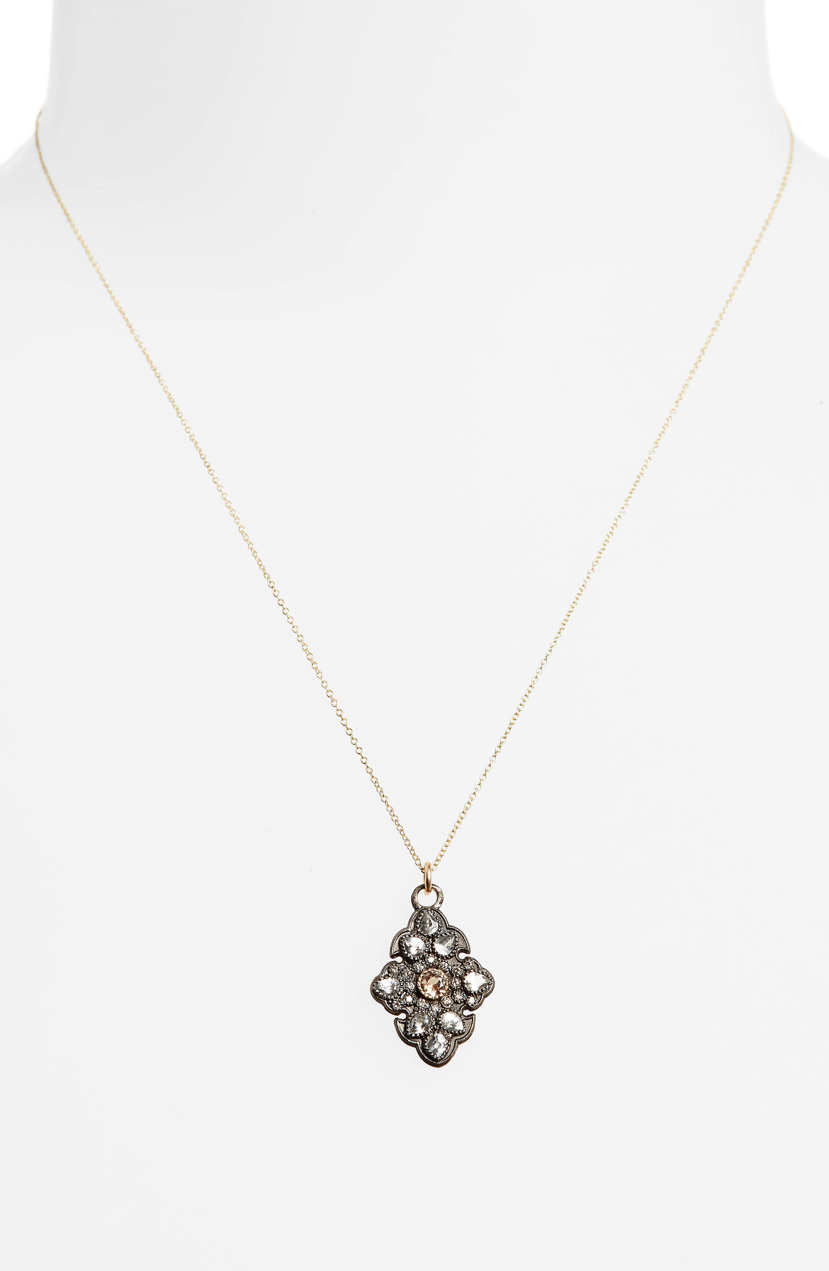 Old World Diamond Pavé Pendant Necklace,                             Alternate thumbnail 2, color,                             Gold