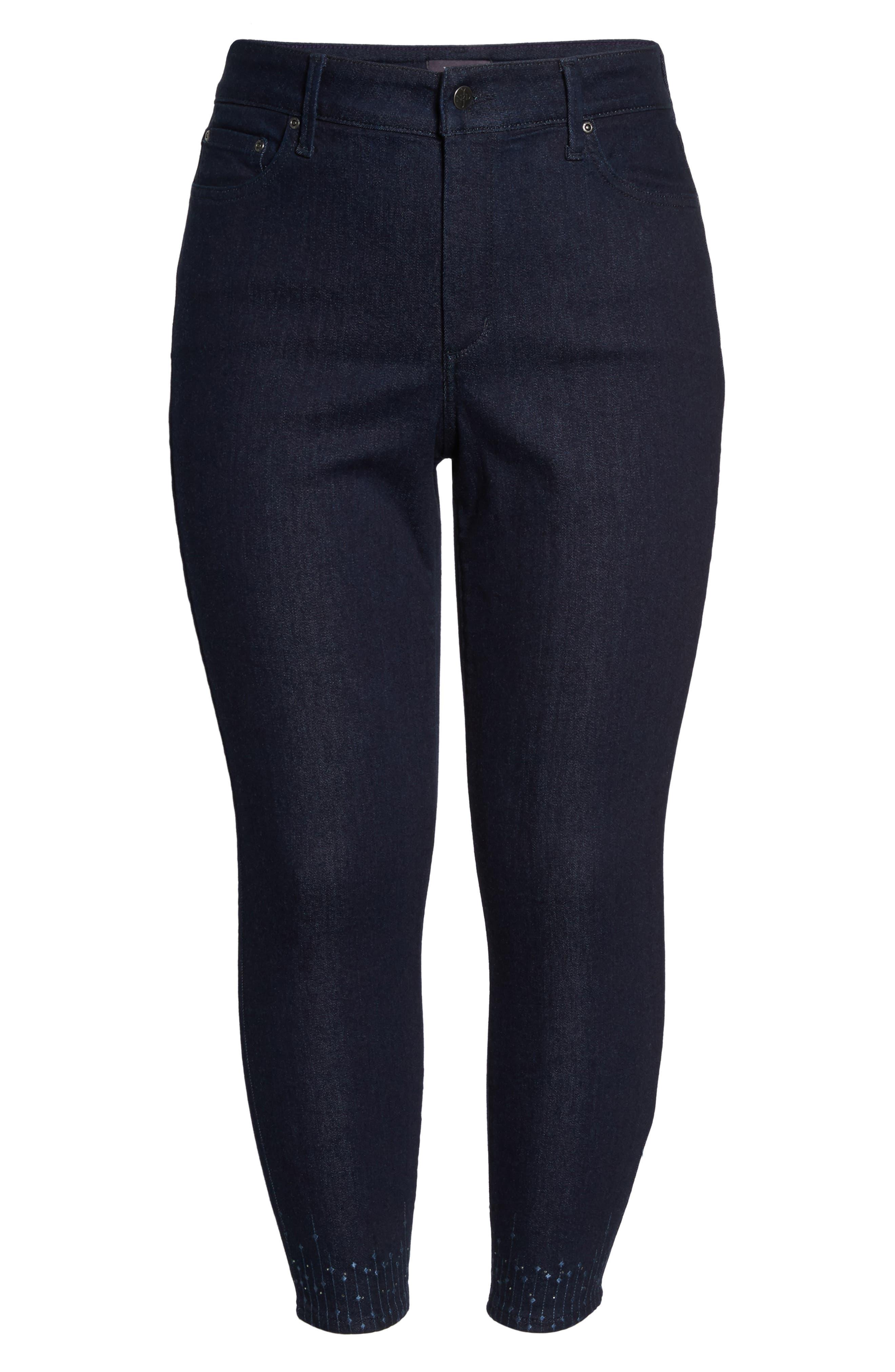 Alternate Image 6  - NYDJ Sheri Bling Hem Stretch Ankle Skinny Jeans (Plus Size)