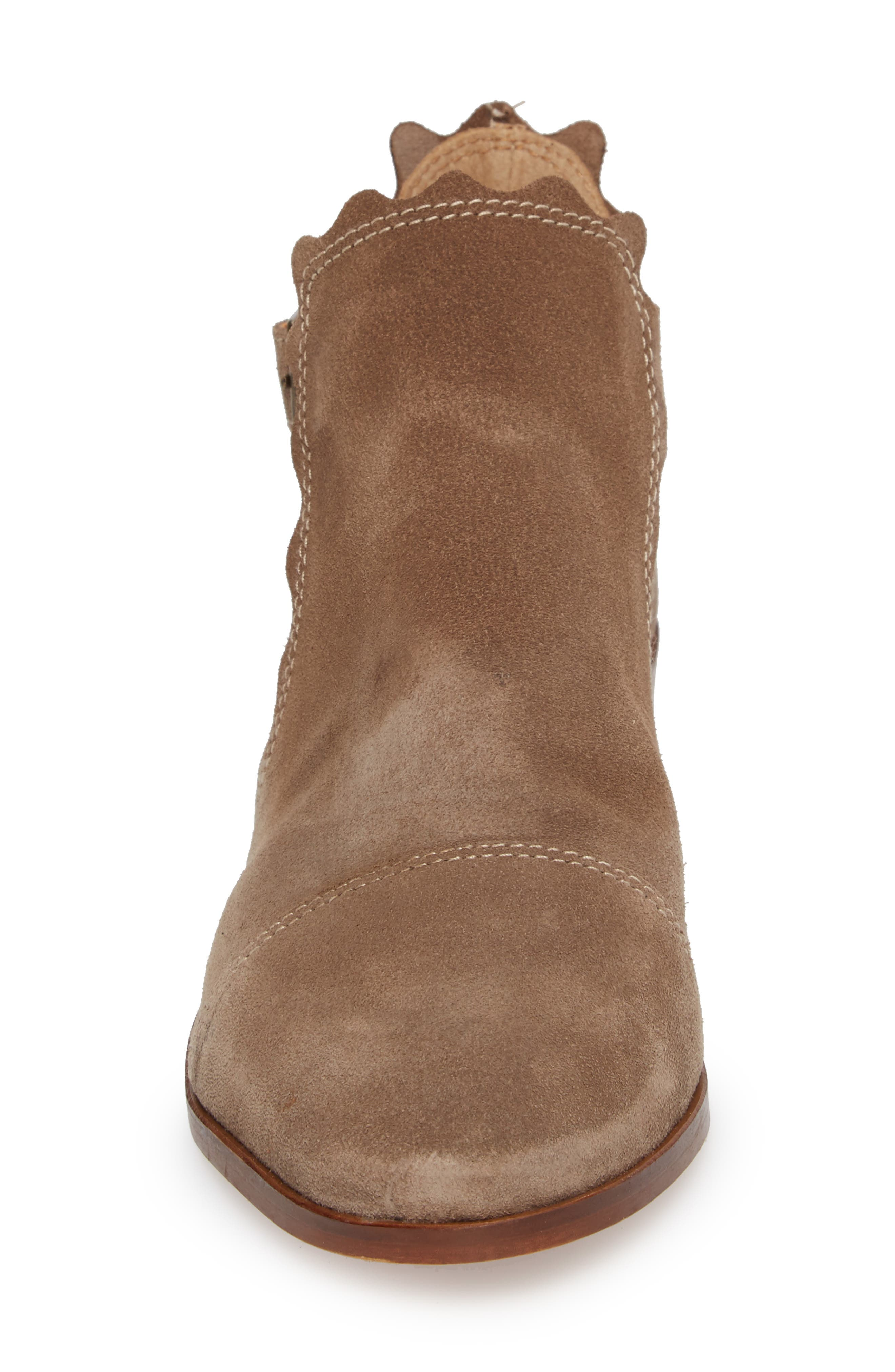 Beau Open Side Bootie,                             Alternate thumbnail 4, color,                             Taupe Suede
