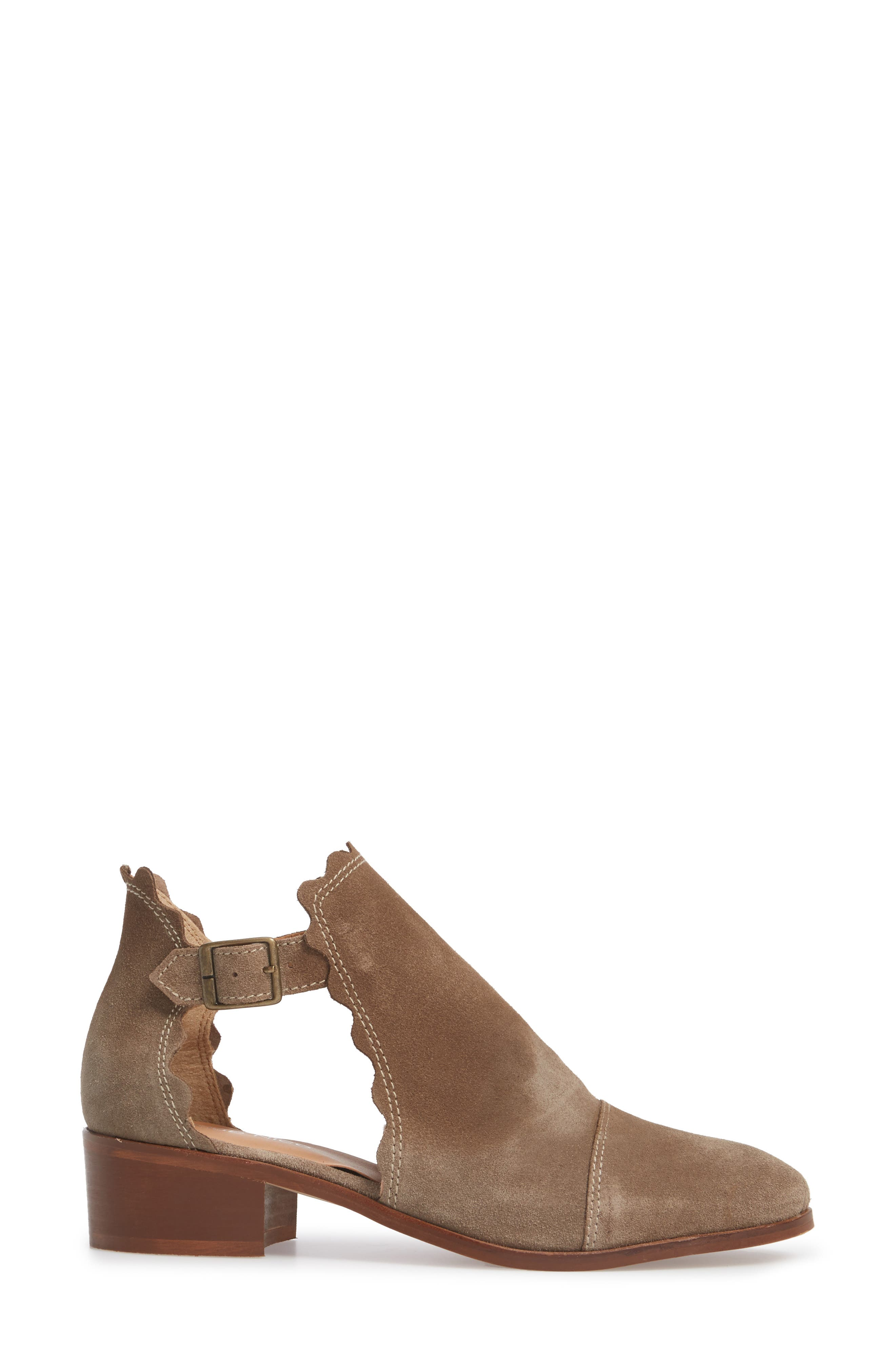 Beau Open Side Bootie,                             Alternate thumbnail 3, color,                             Taupe Suede
