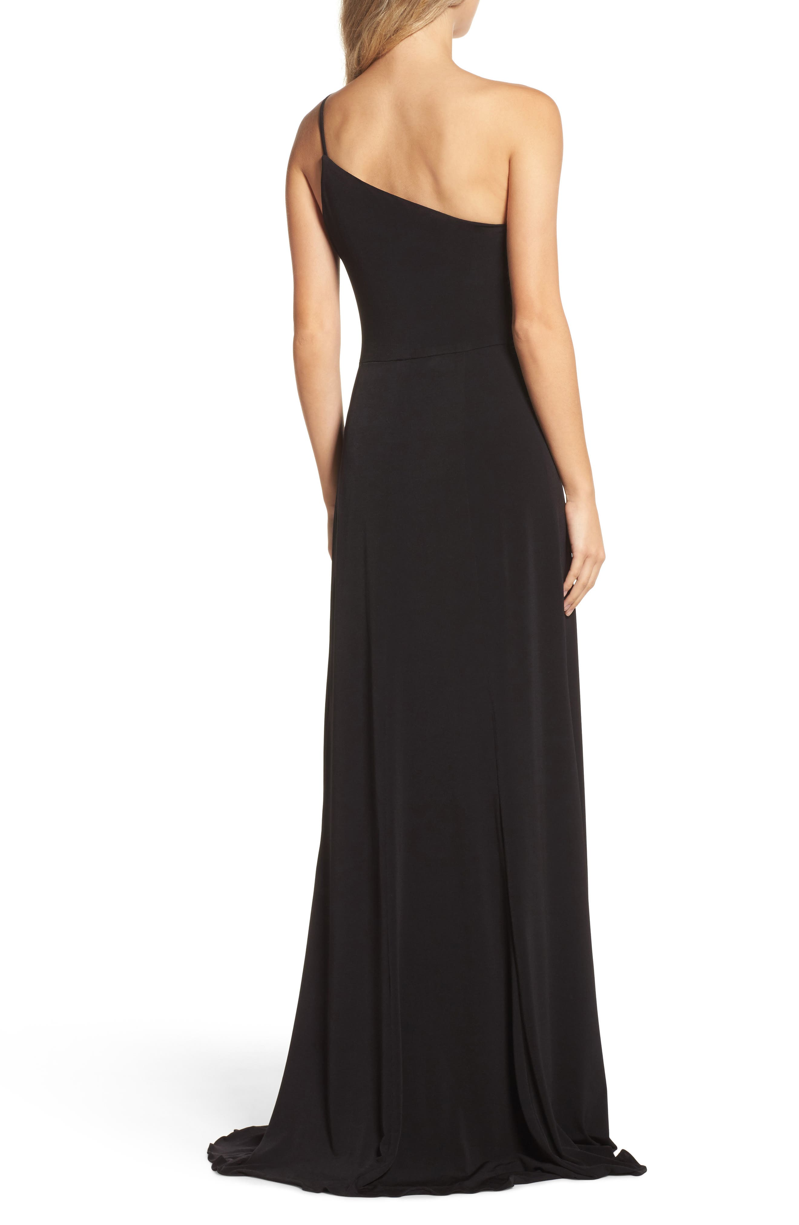 One-Shoulder Jersey Gown,                             Alternate thumbnail 2, color,                             Black
