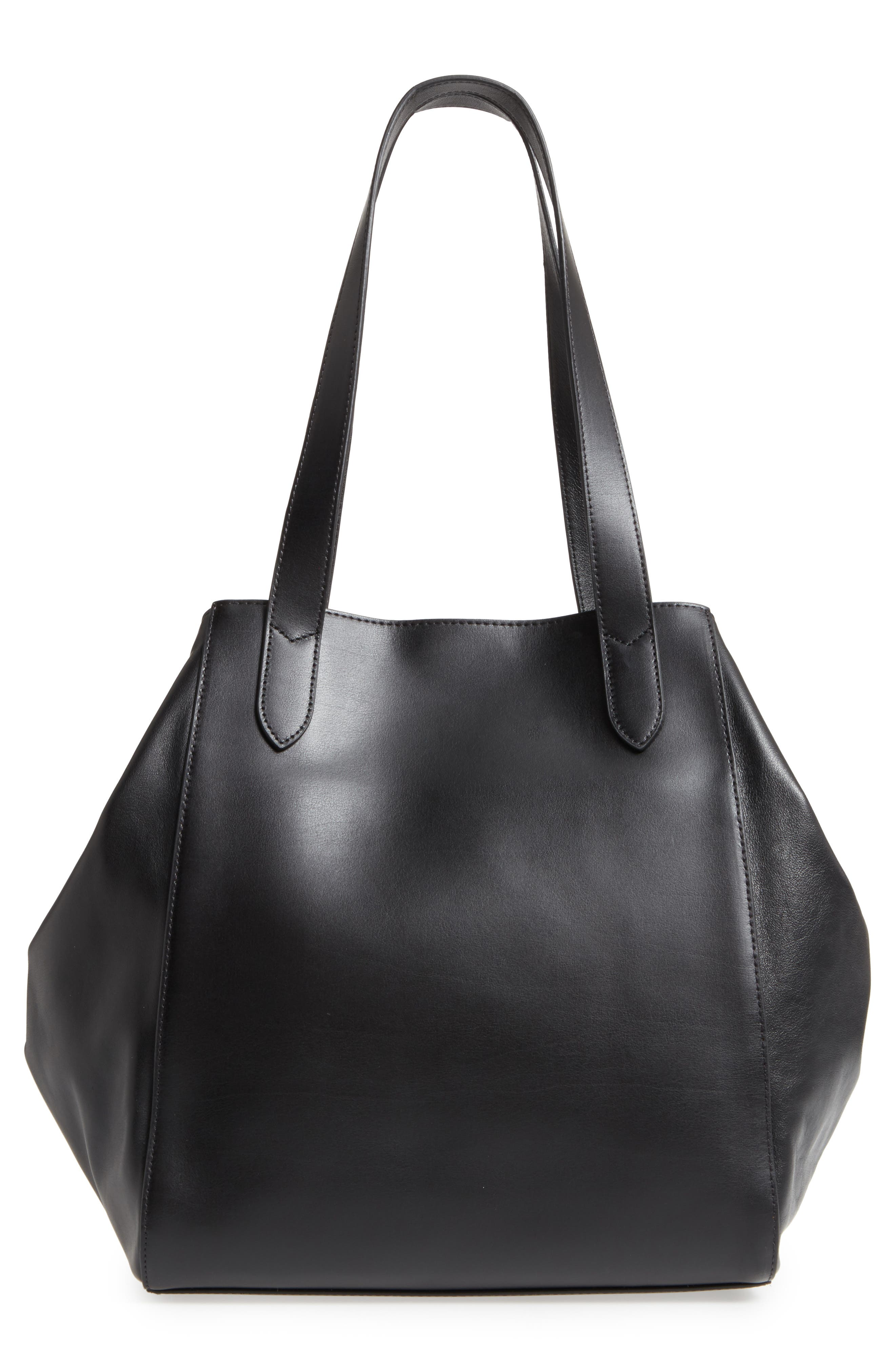 Downtown Charlize RFID Leather Tote,                             Alternate thumbnail 3, color,                             Black