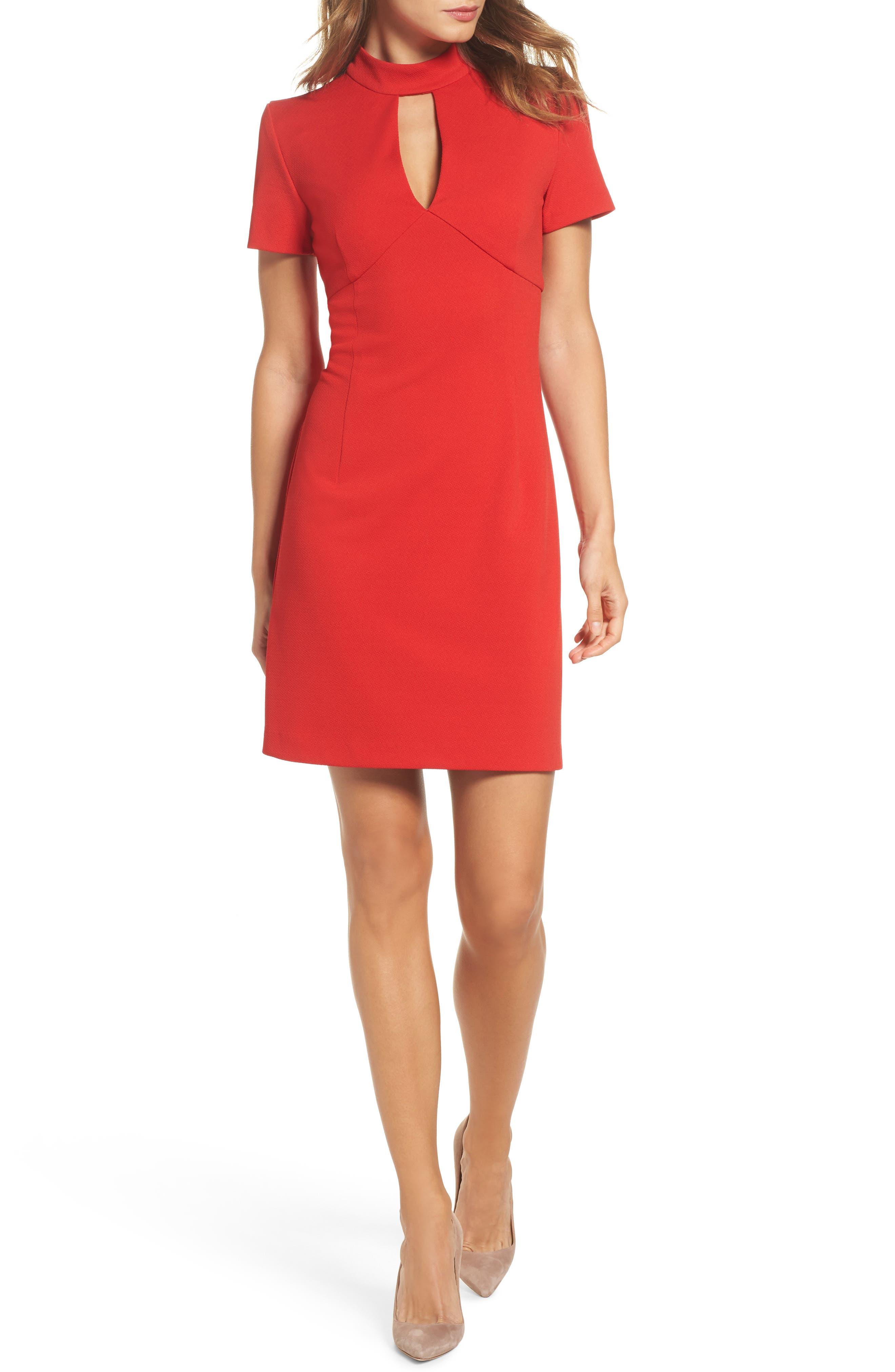 Camari Choker Collar Sheath Dress,                         Main,                         color, Pagoda Red