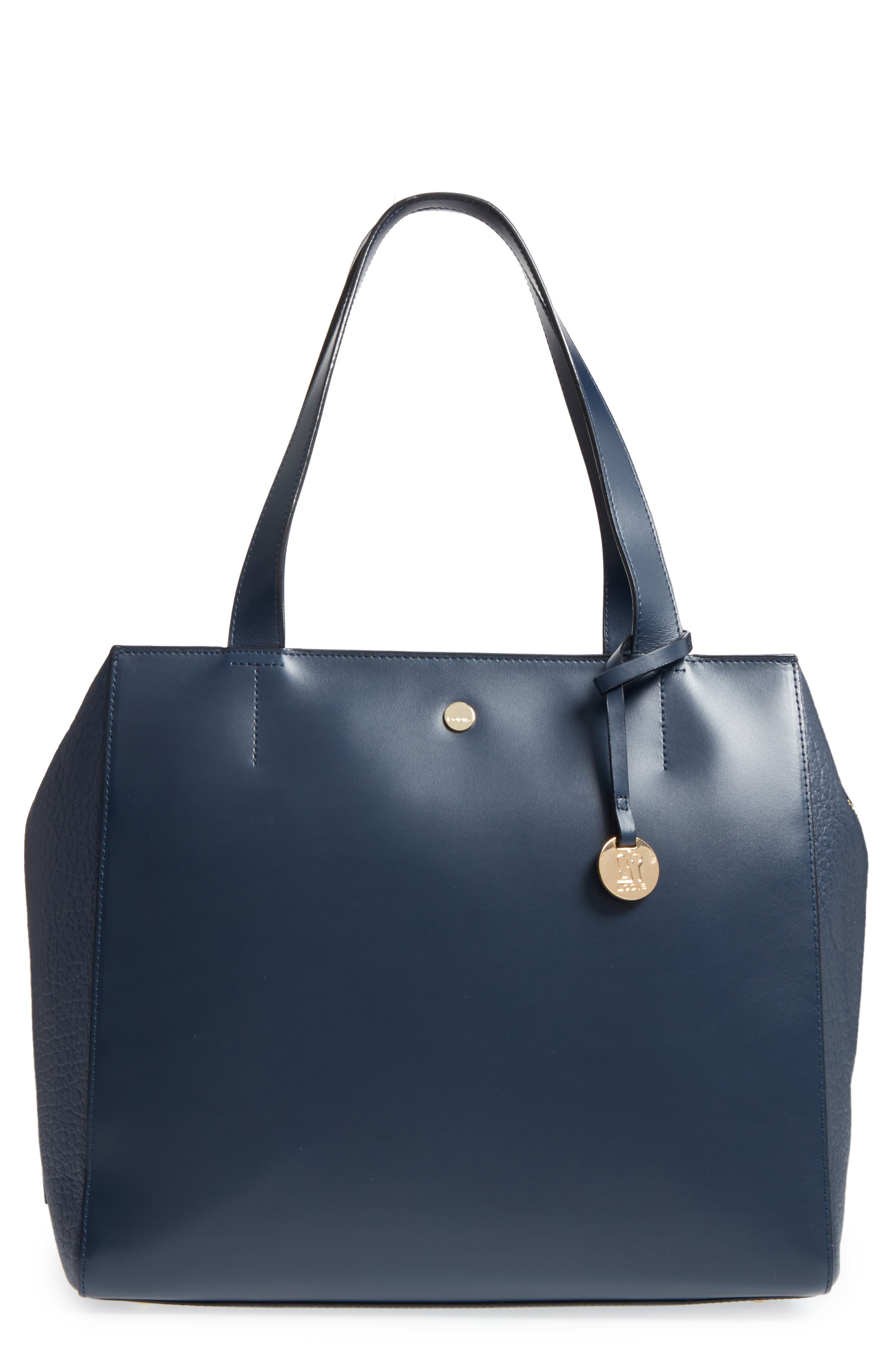 In the Mix Doris RFID Leather Work Tote,                         Main,                         color, Navy