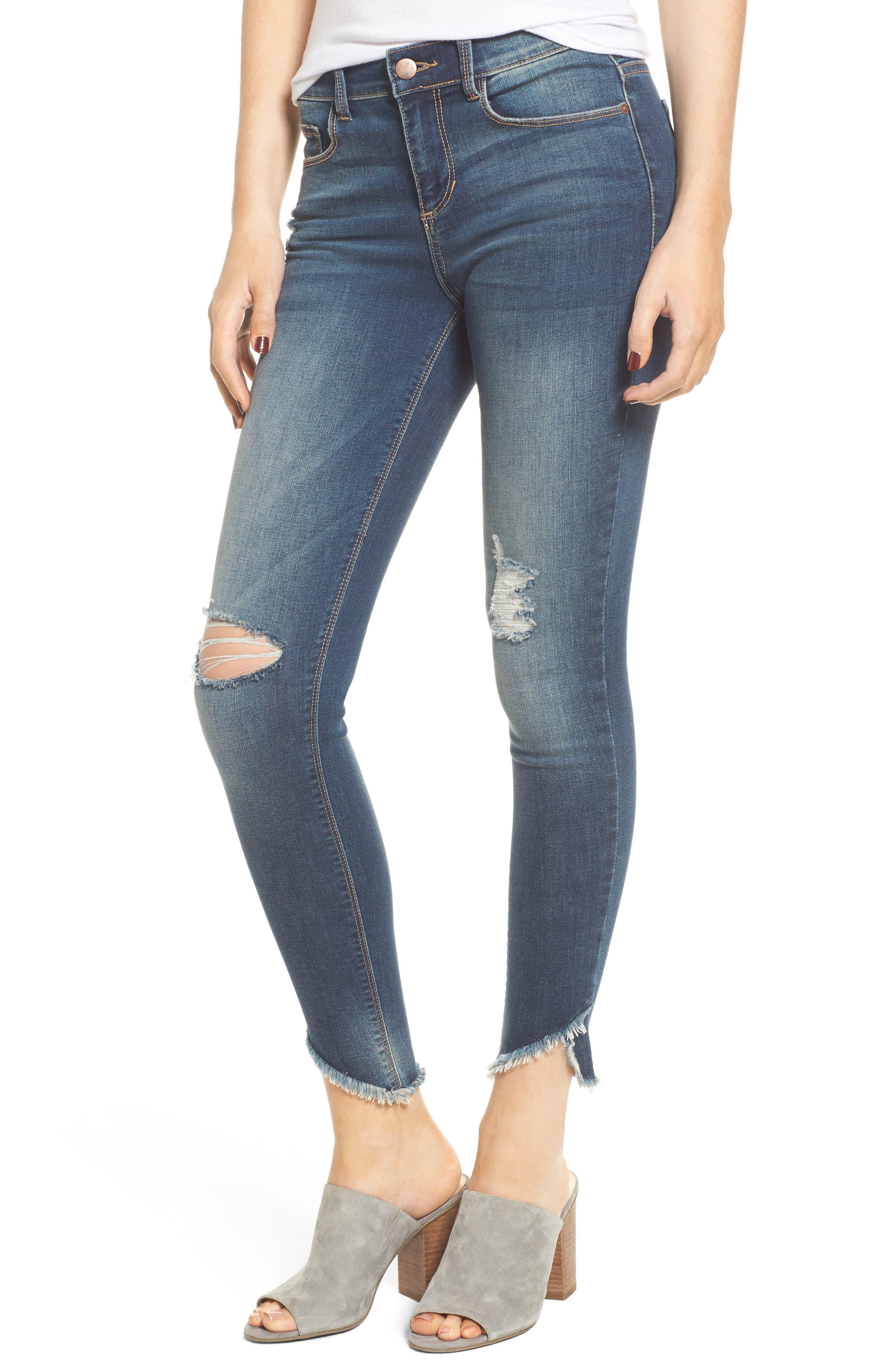 Ripped Raw Hem Skinny Jeans,                             Main thumbnail 1, color,                             Medium Dark