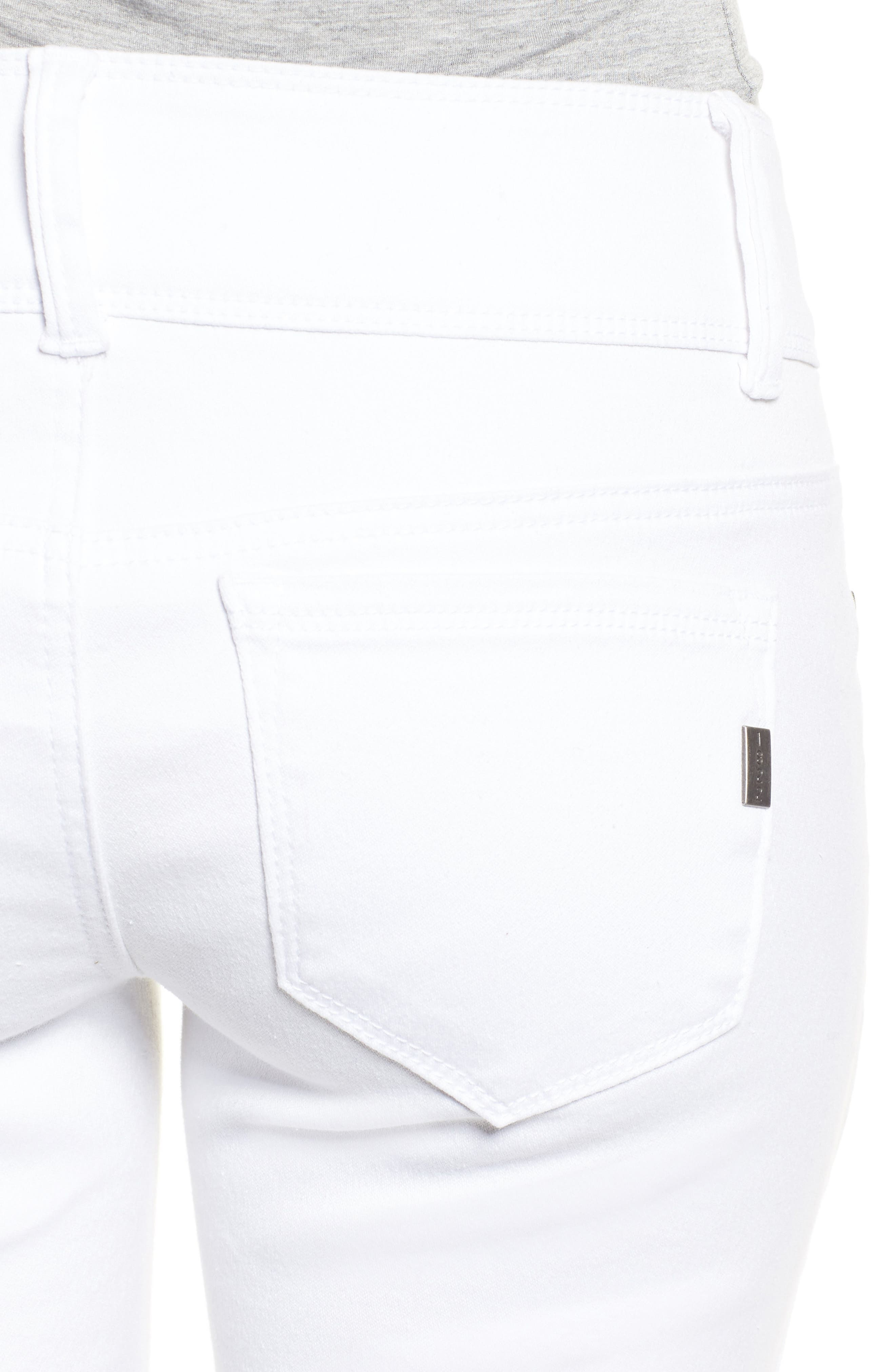 Double Button Skinny Jeans,                             Alternate thumbnail 4, color,                             White