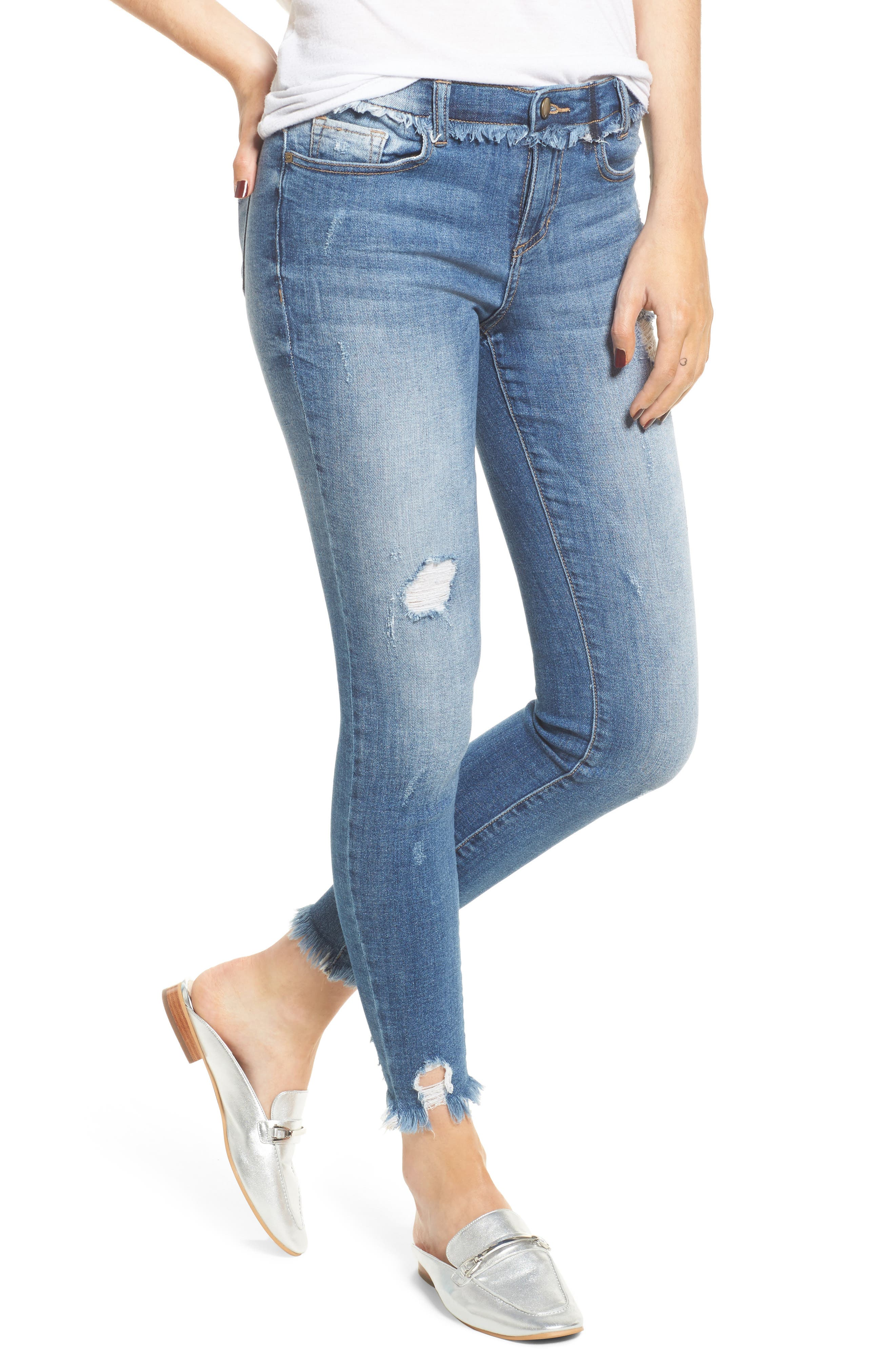 Frayed Waist Skinny Jeans,                             Main thumbnail 1, color,                             Medium Light