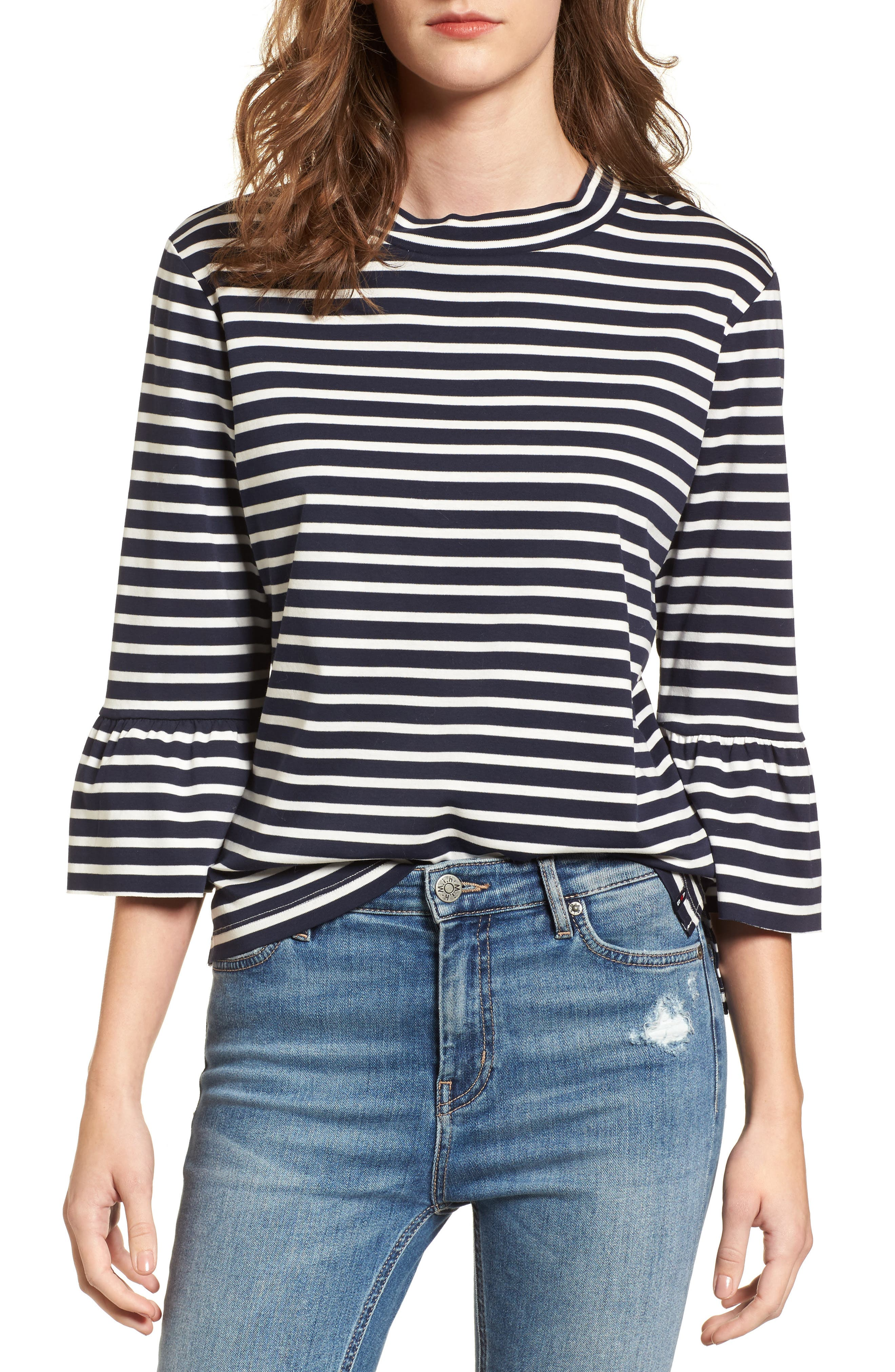 Bell Sleeve Top,                         Main,                         color, Navy/ White Stripe