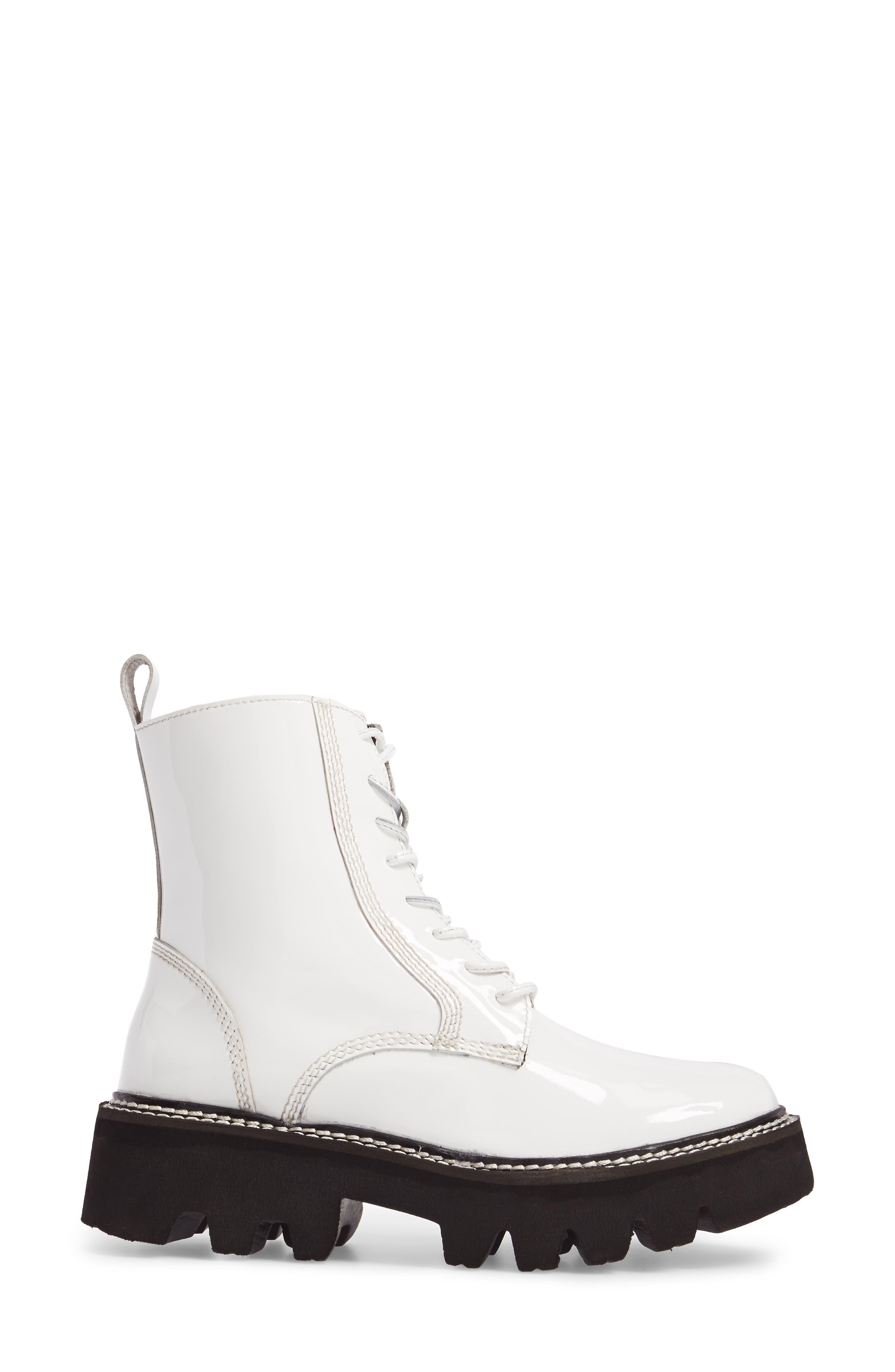 Agira Lug Boot,                             Alternate thumbnail 3, color,                             White Patent Leather