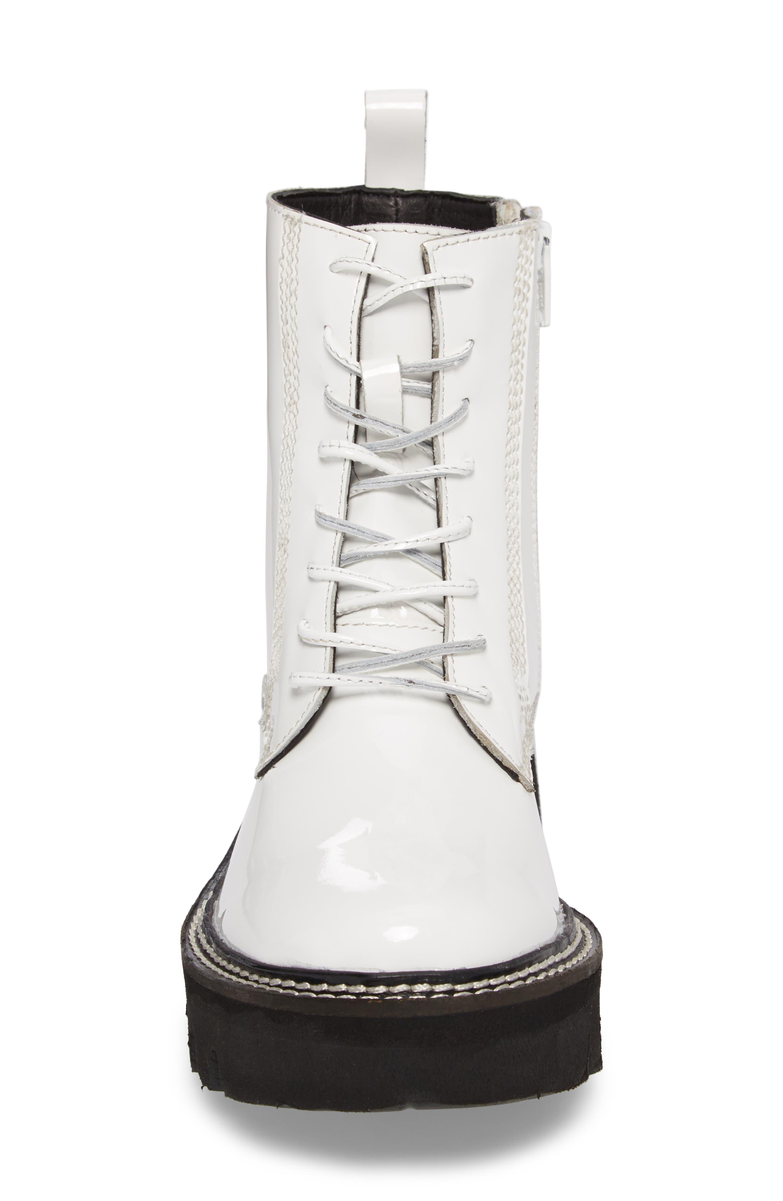 Agira Lug Boot,                             Alternate thumbnail 4, color,                             White Patent Leather