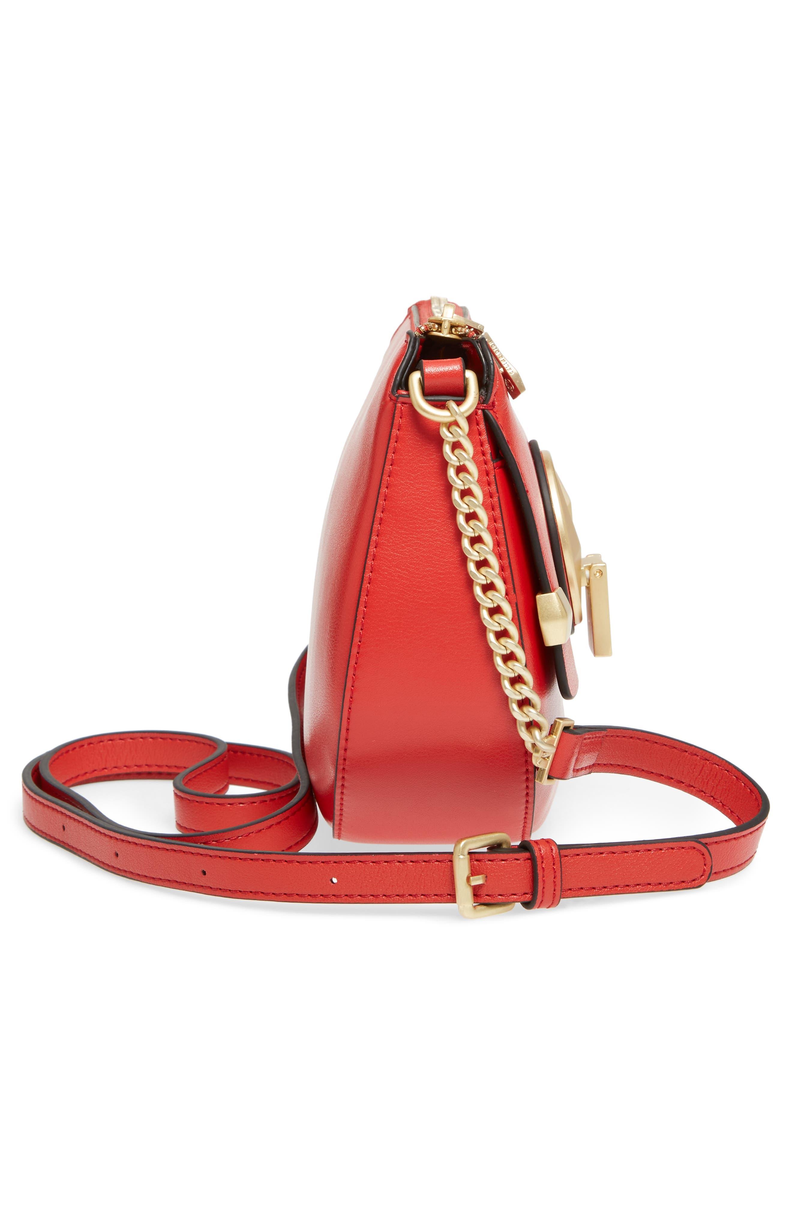 Céline Dion Octave Leather Crossbody Bag,                             Alternate thumbnail 5, color,                             Red
