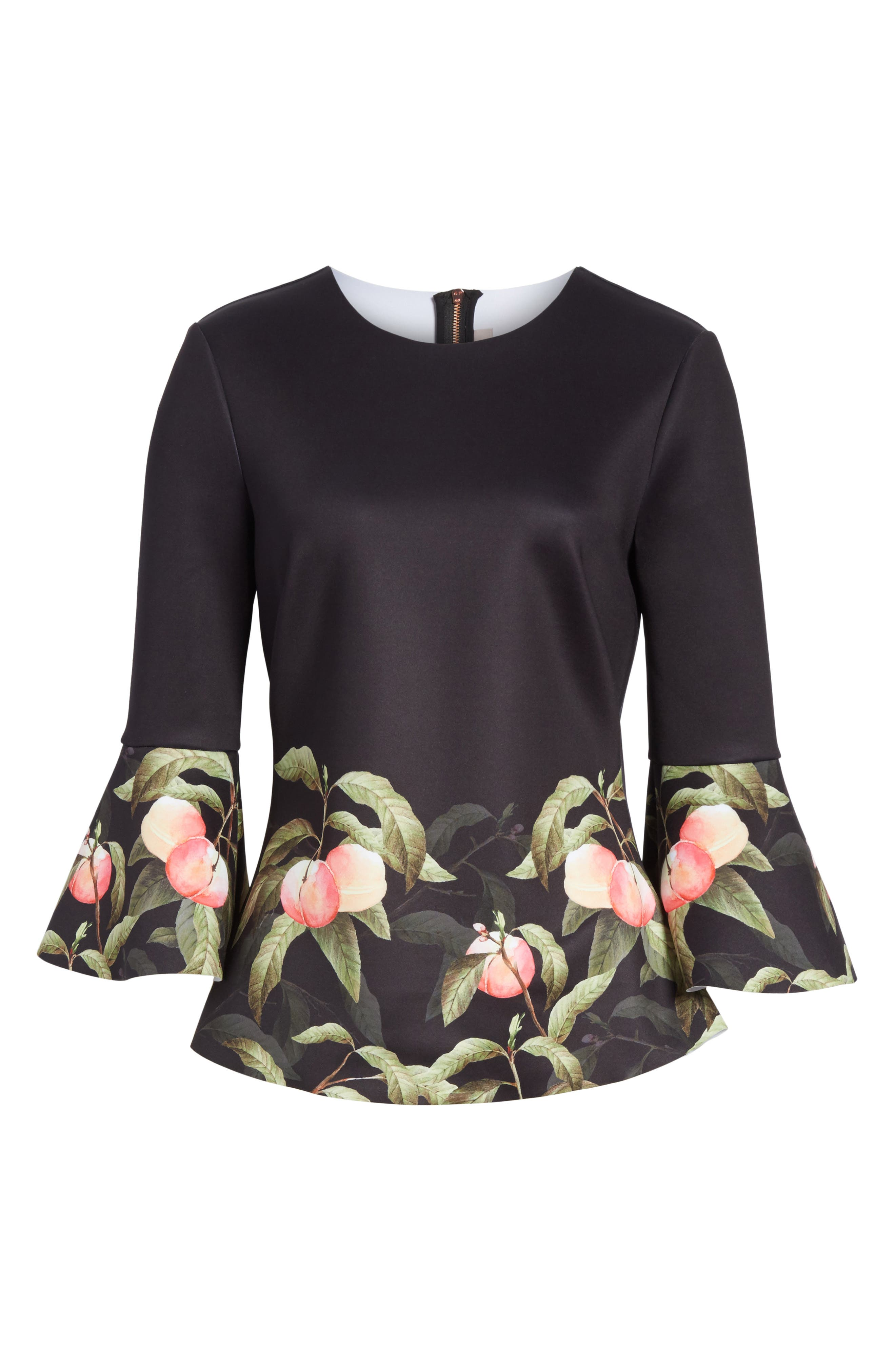 Peach Blossom Bell Sleeve Top,                             Alternate thumbnail 6, color,                             Black