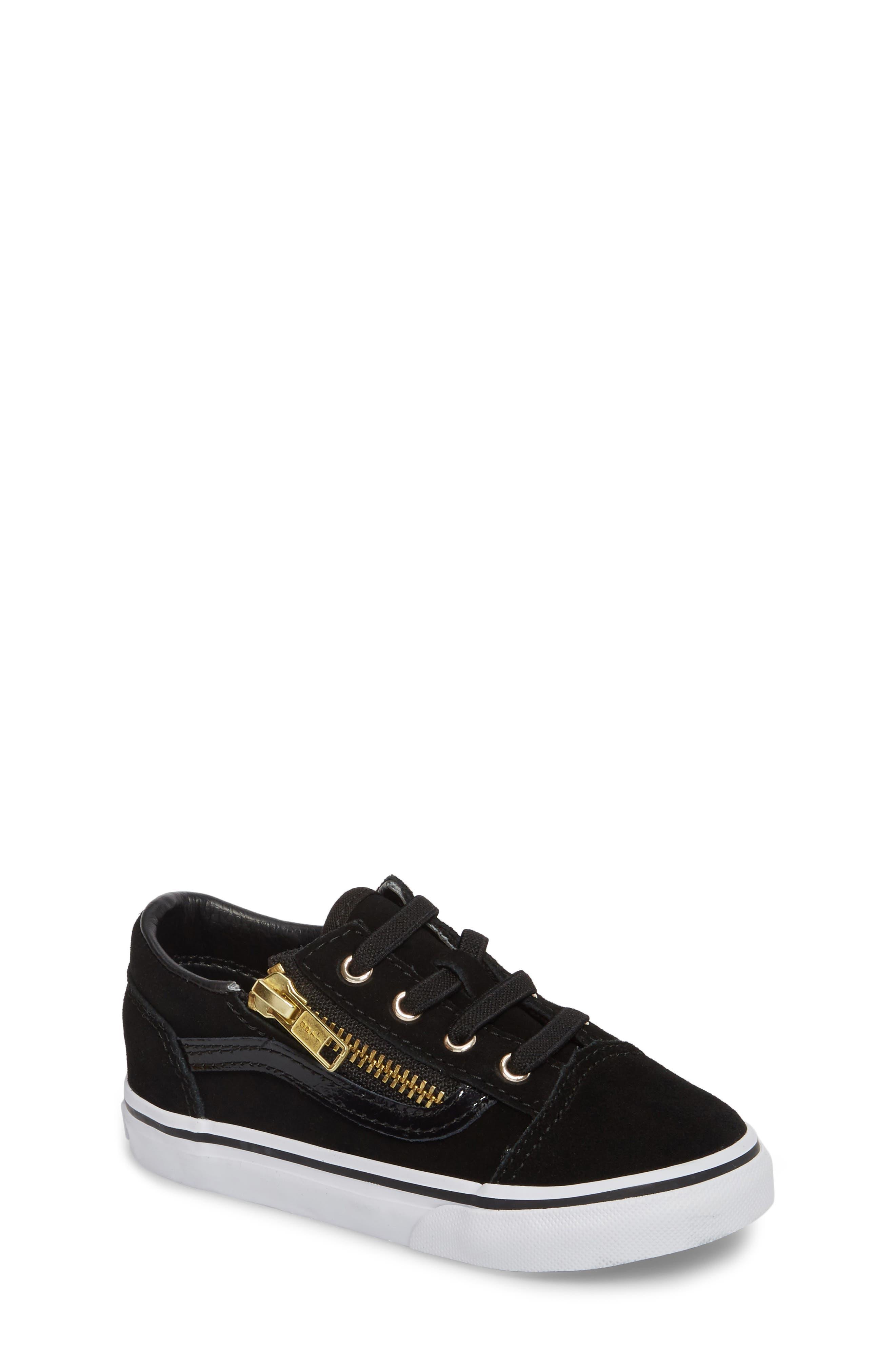 Old Skool Zip Sneaker,                             Main thumbnail 1, color,                             Black/ Gold