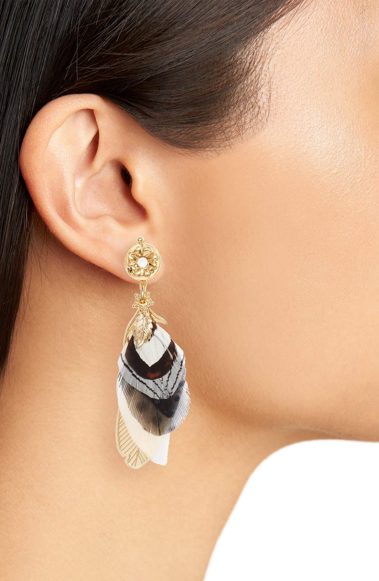 Small Sao Feather Earrings,                             Alternate thumbnail 2, color,                             Black/ Gold