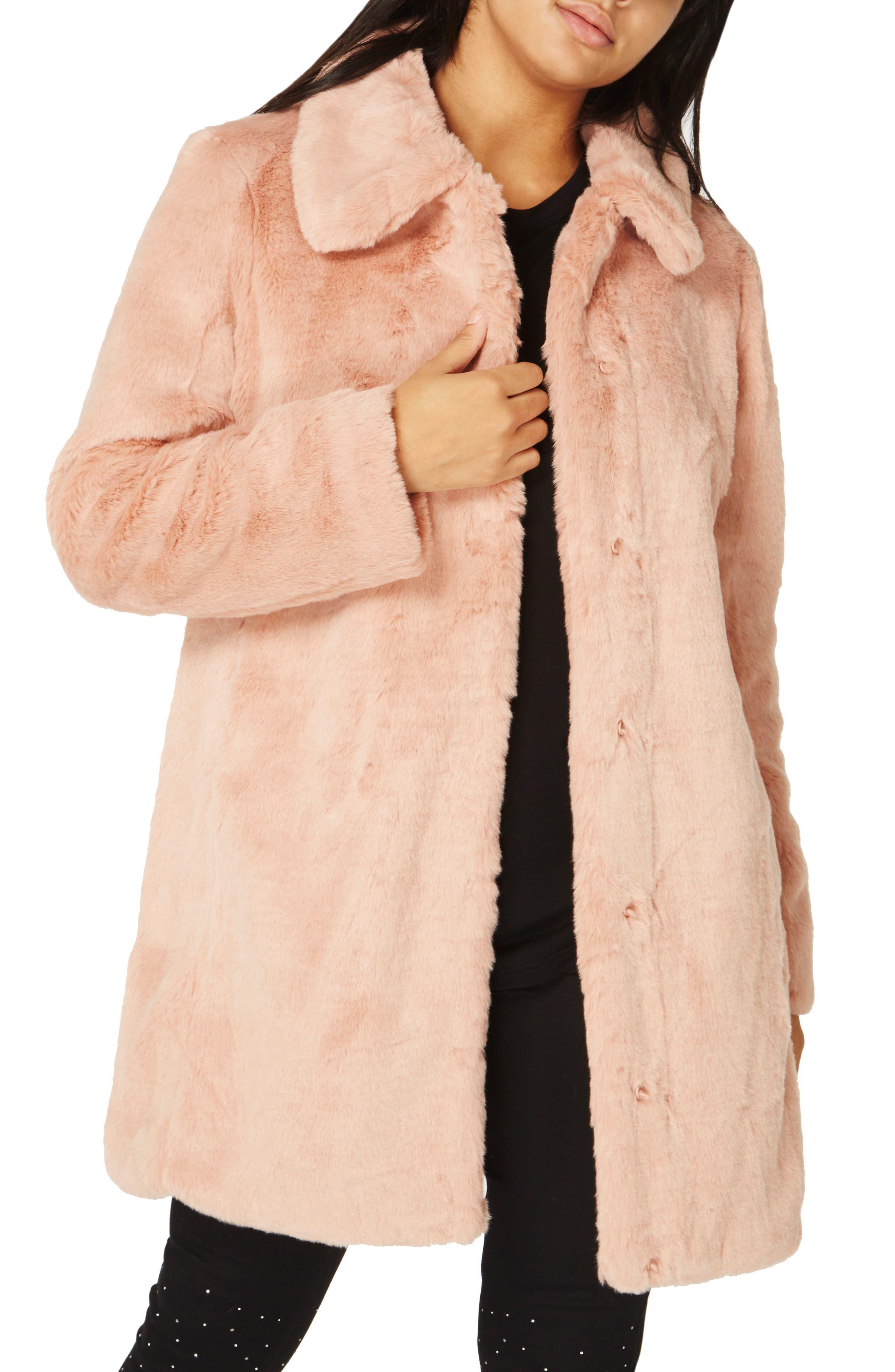 Dolly Faux Fur Jacket,                         Main,                         color, Dusky Rose