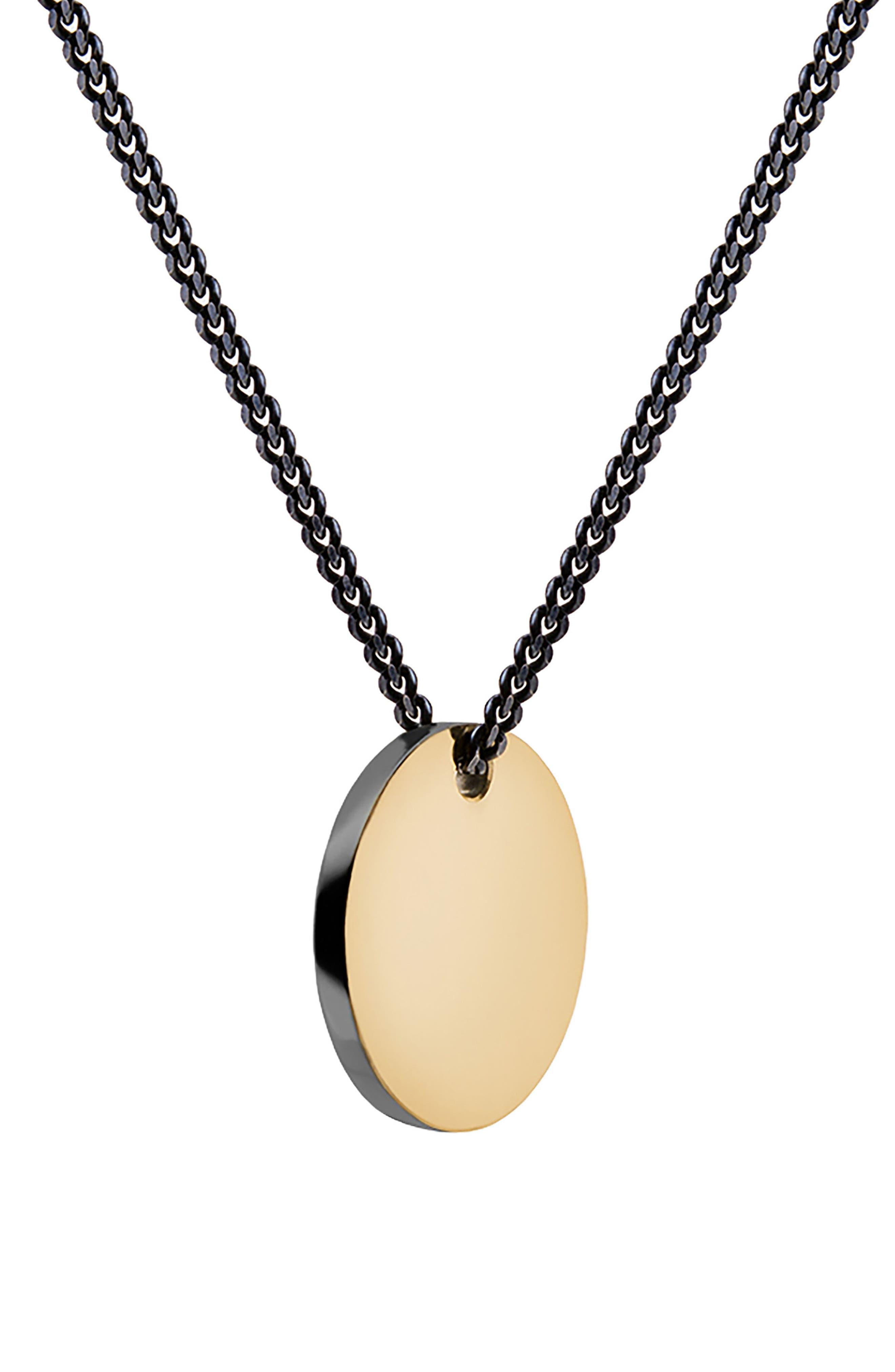 Fusion Pendant Necklace,                         Main,                         color, Polished Gold/ Black