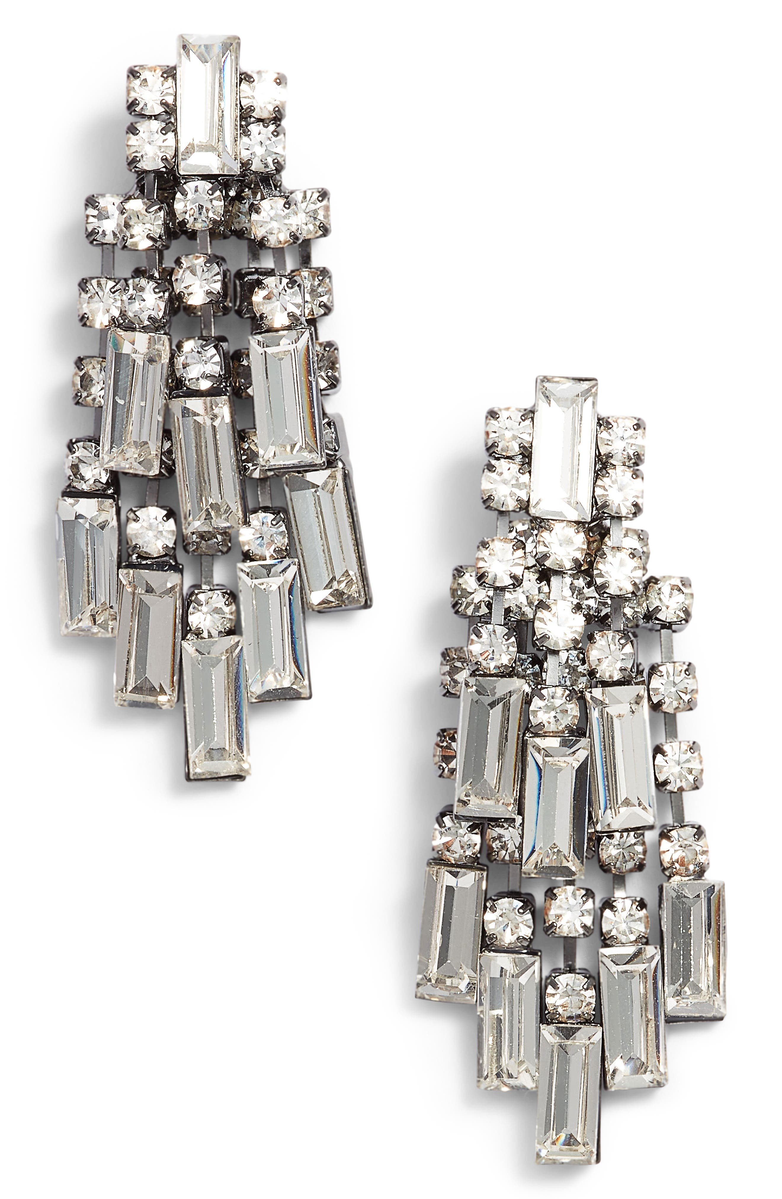 Crystal Baguette Earrings,                             Main thumbnail 1, color,                             Gunmetal/ Crystal
