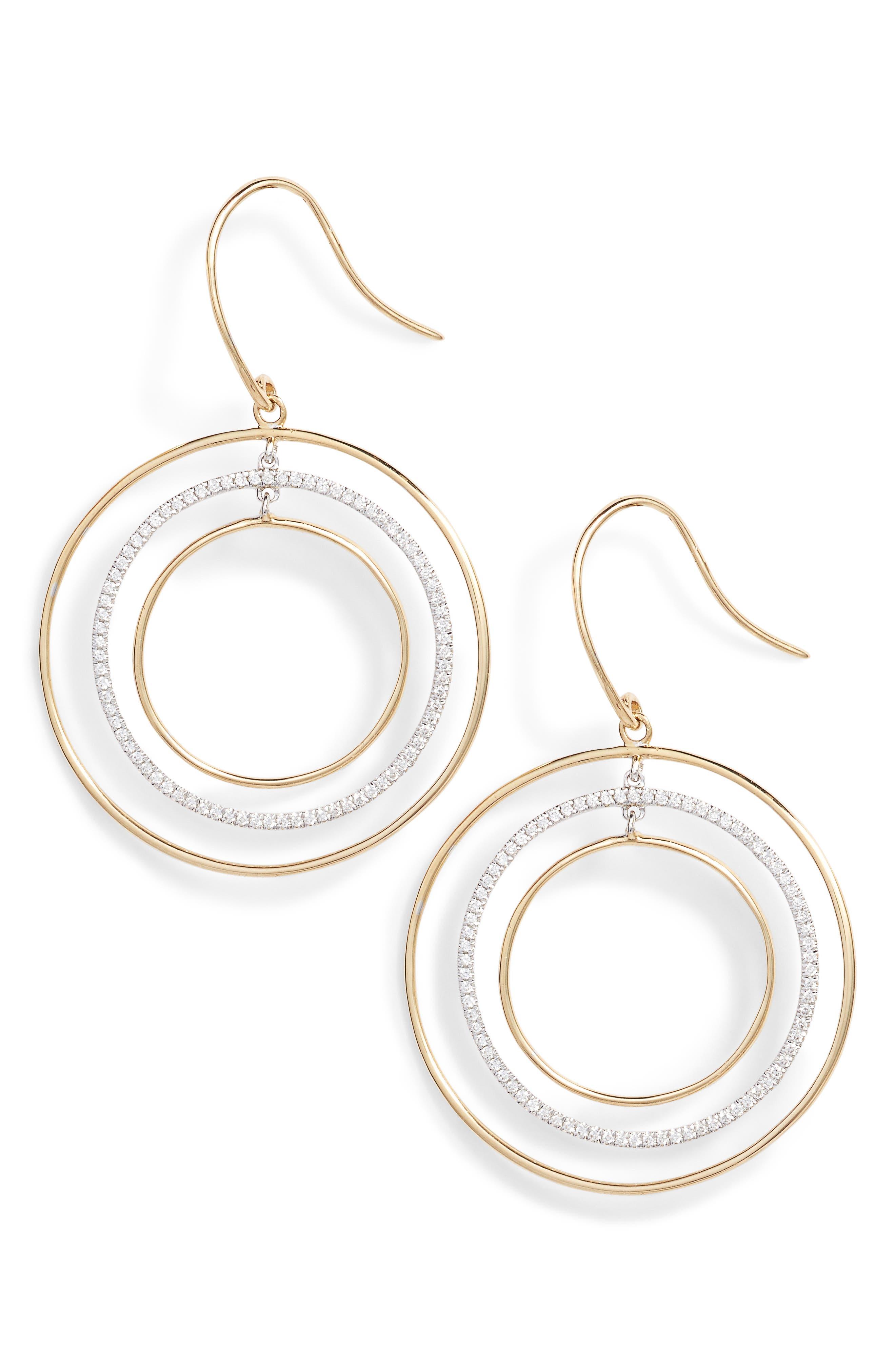 Prism Geometric Drop Earrings,                             Main thumbnail 1, color,                             Yellow Gold/ White Gold