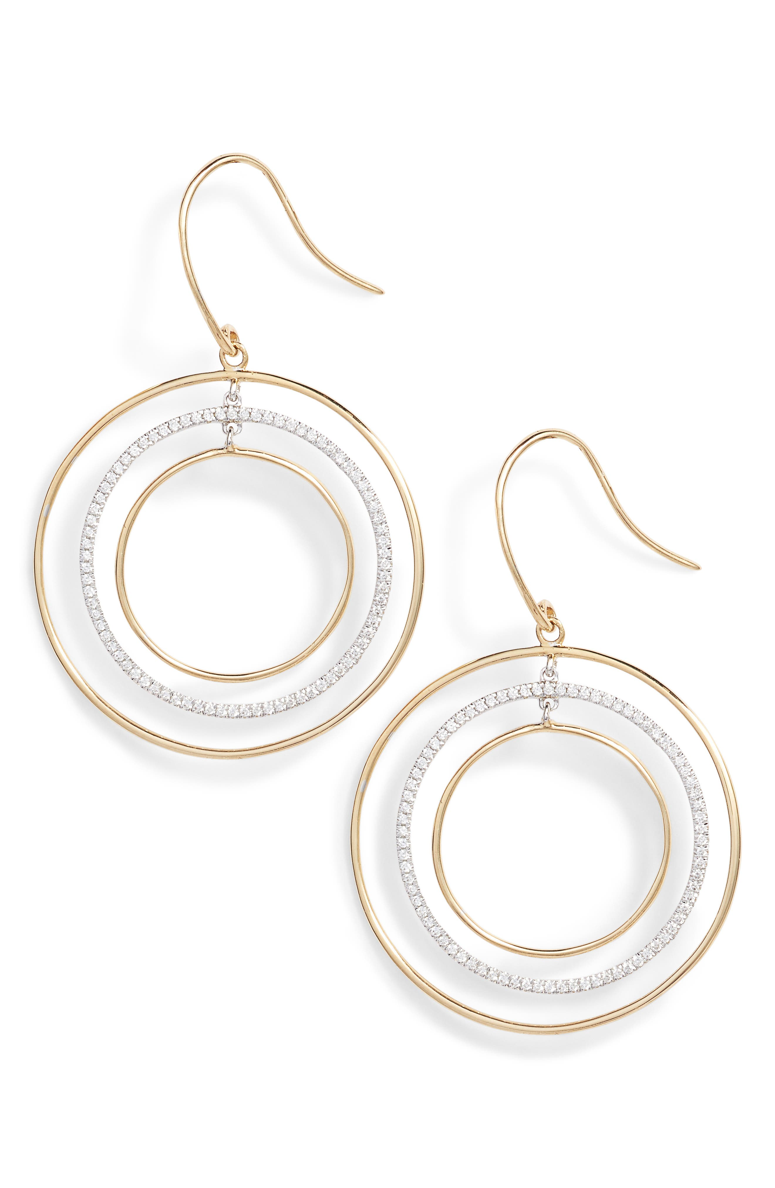 Prism Geometric Drop Earrings,                         Main,                         color, Yellow Gold/ White Gold