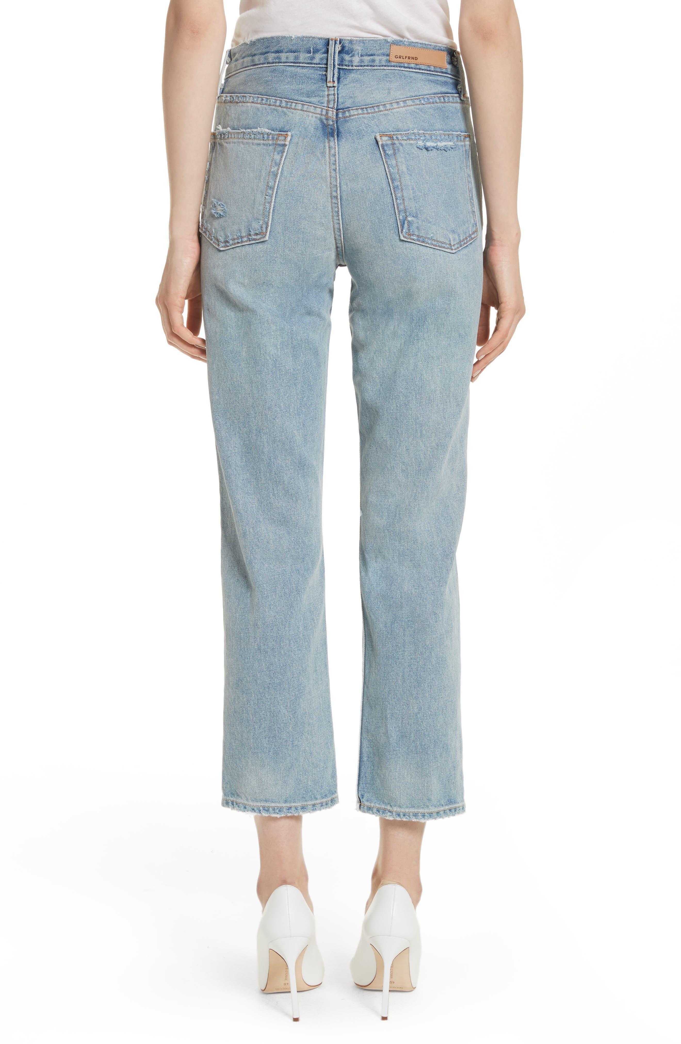 Alternate Image 2  - GRLFRND Helena Ripped Rigid High Waist Straight Jeans (Reese)