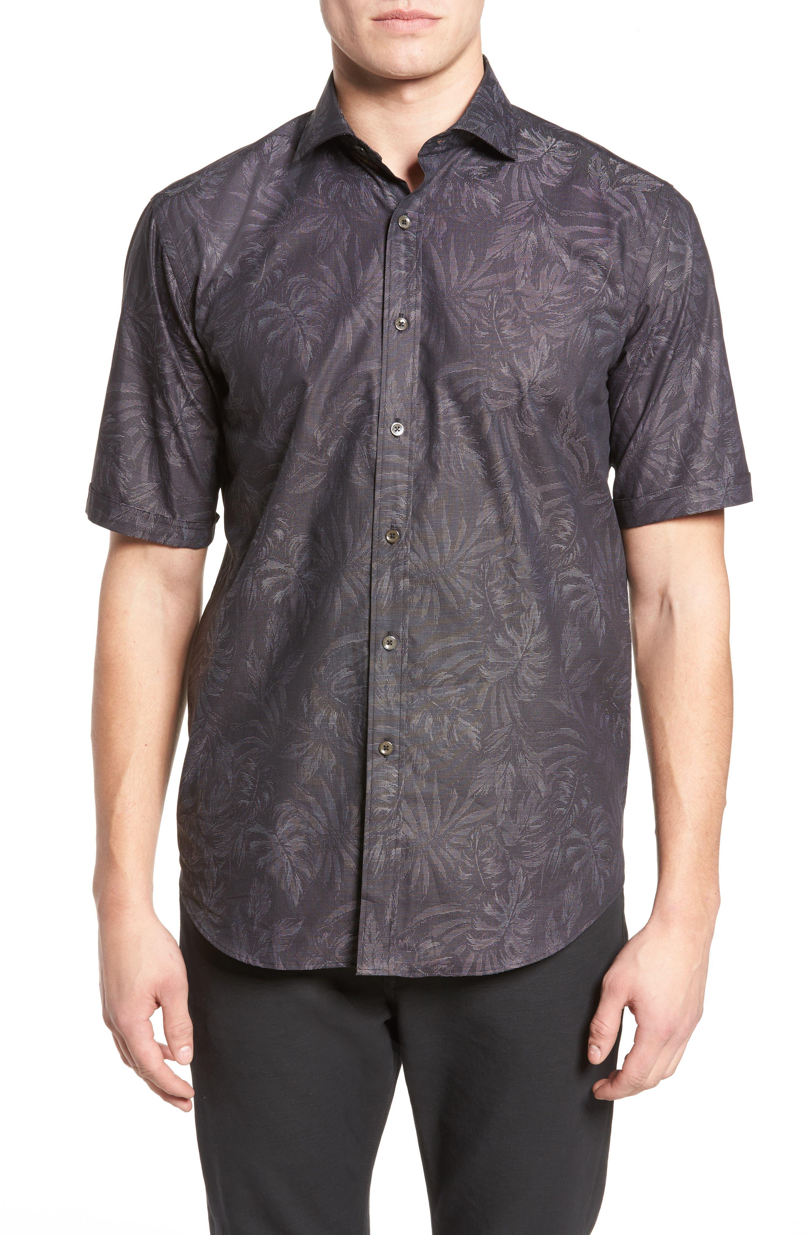 Classic Fit Print Sport Shirt,                         Main,                         color, Black