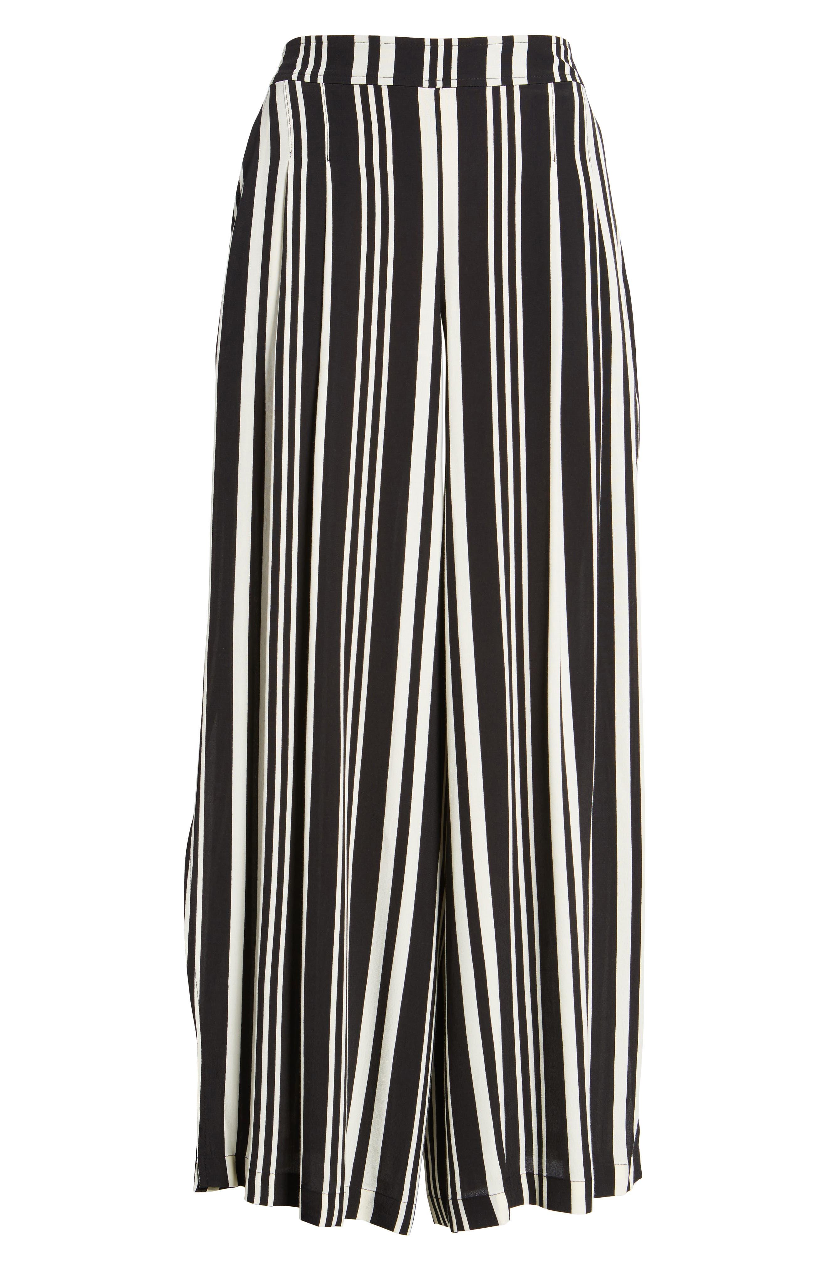 Split Leg Pants,                             Alternate thumbnail 6, color,                             Black Bold Wide Sripe