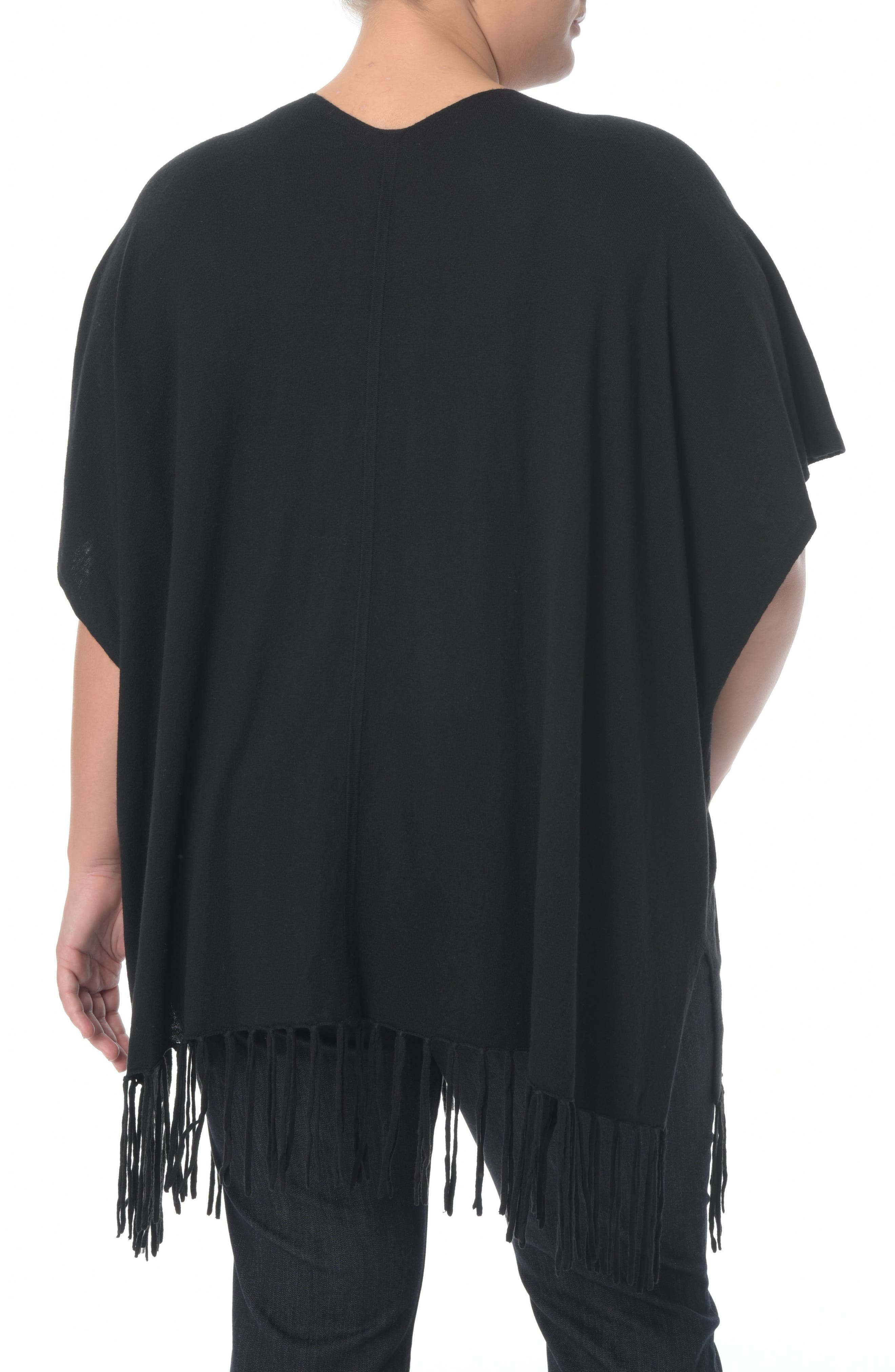 Fringe Sweater Wrap,                             Alternate thumbnail 2, color,                             Black