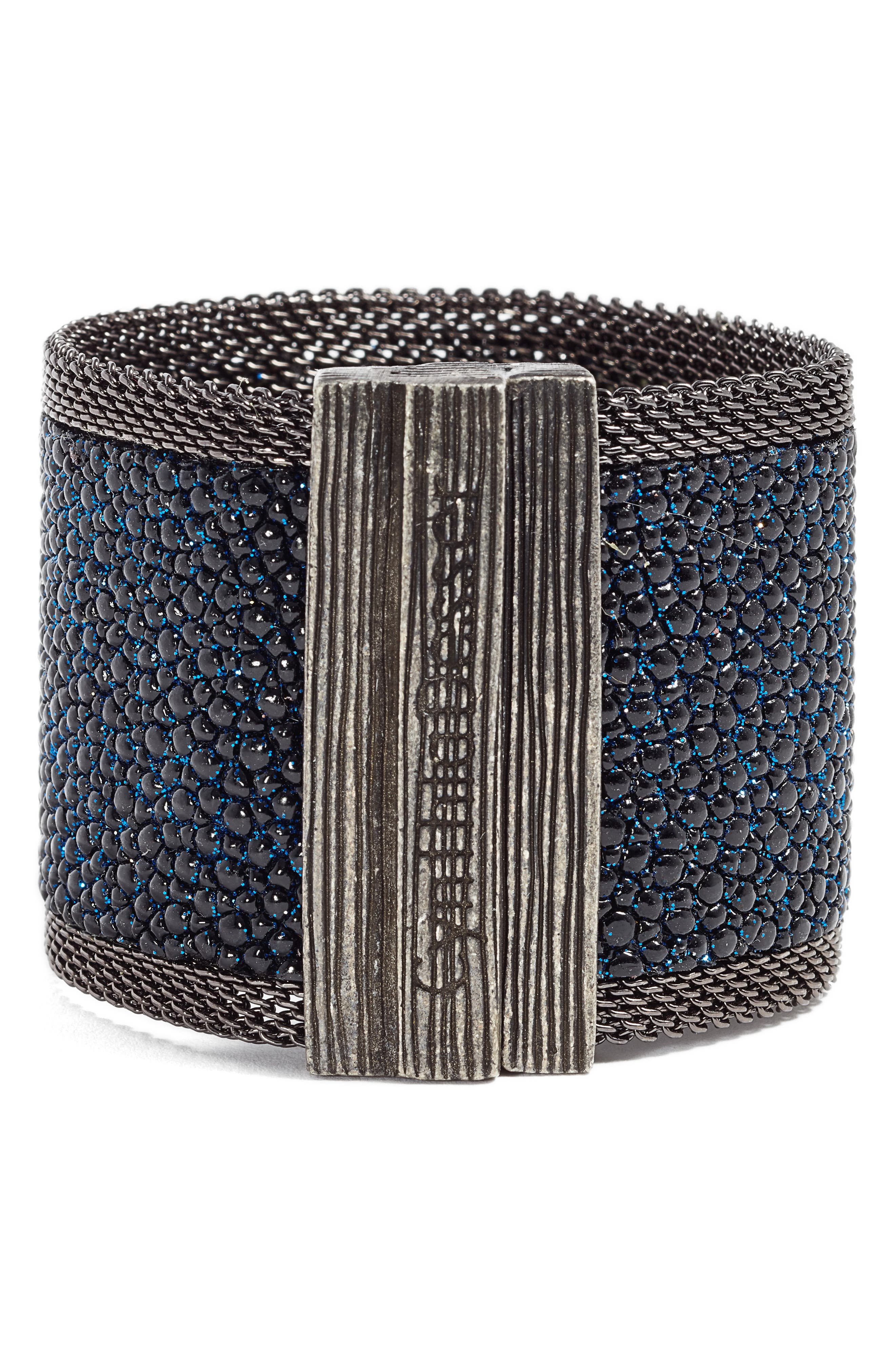 Wide Shimmer Stingray Bracelet,                             Alternate thumbnail 3, color,                             Black/ Cobalt Blue/ Gun Metal