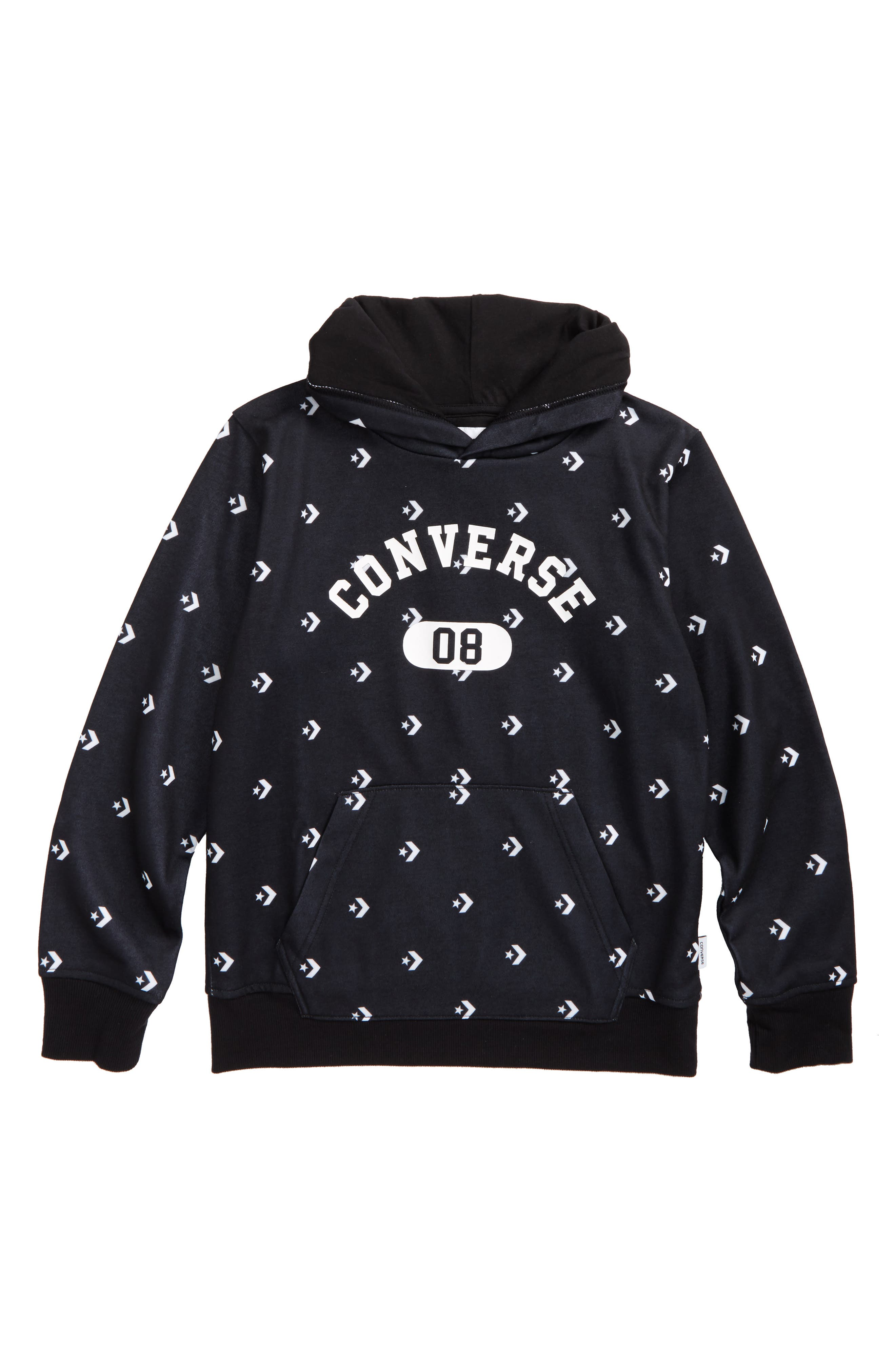 All-Over Logo Pullover Hoodie,                         Main,                         color, Black